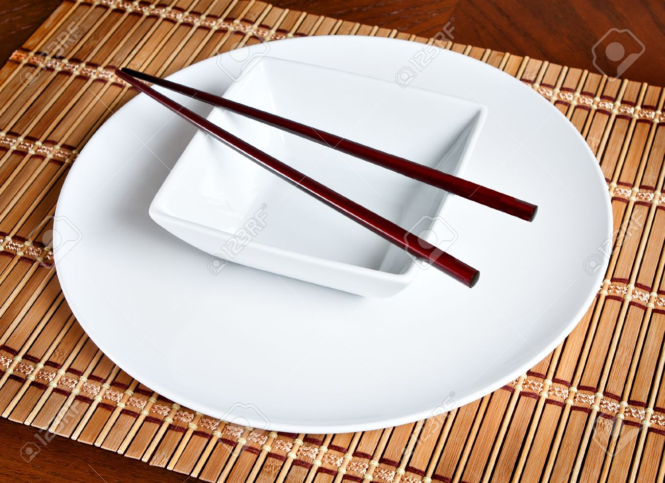A Modern Asian Table Setting Stock Photo