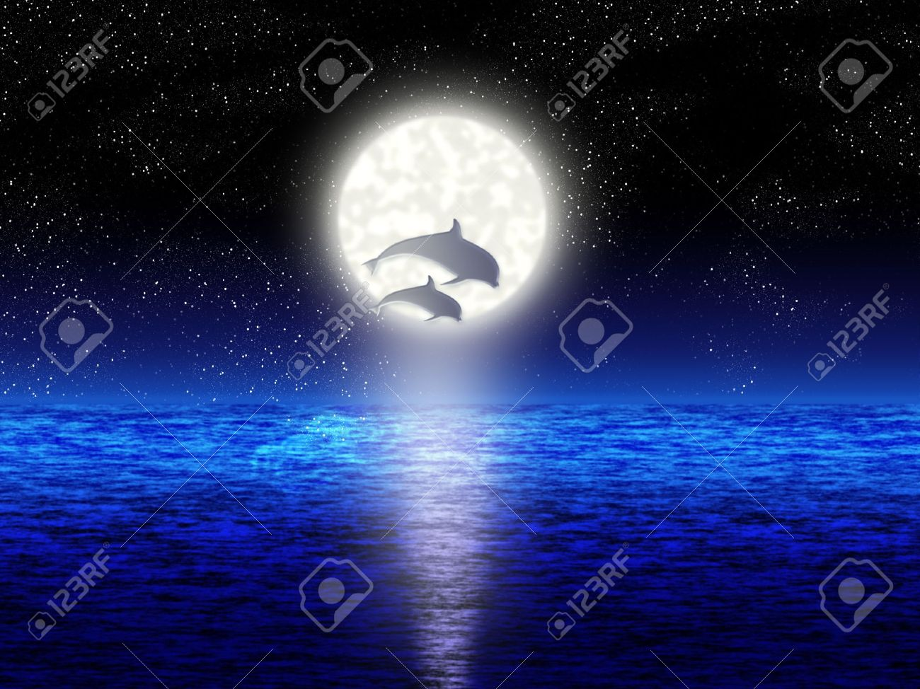Pair jumping dolphin on background of the full moon Stock Photo - 3409048