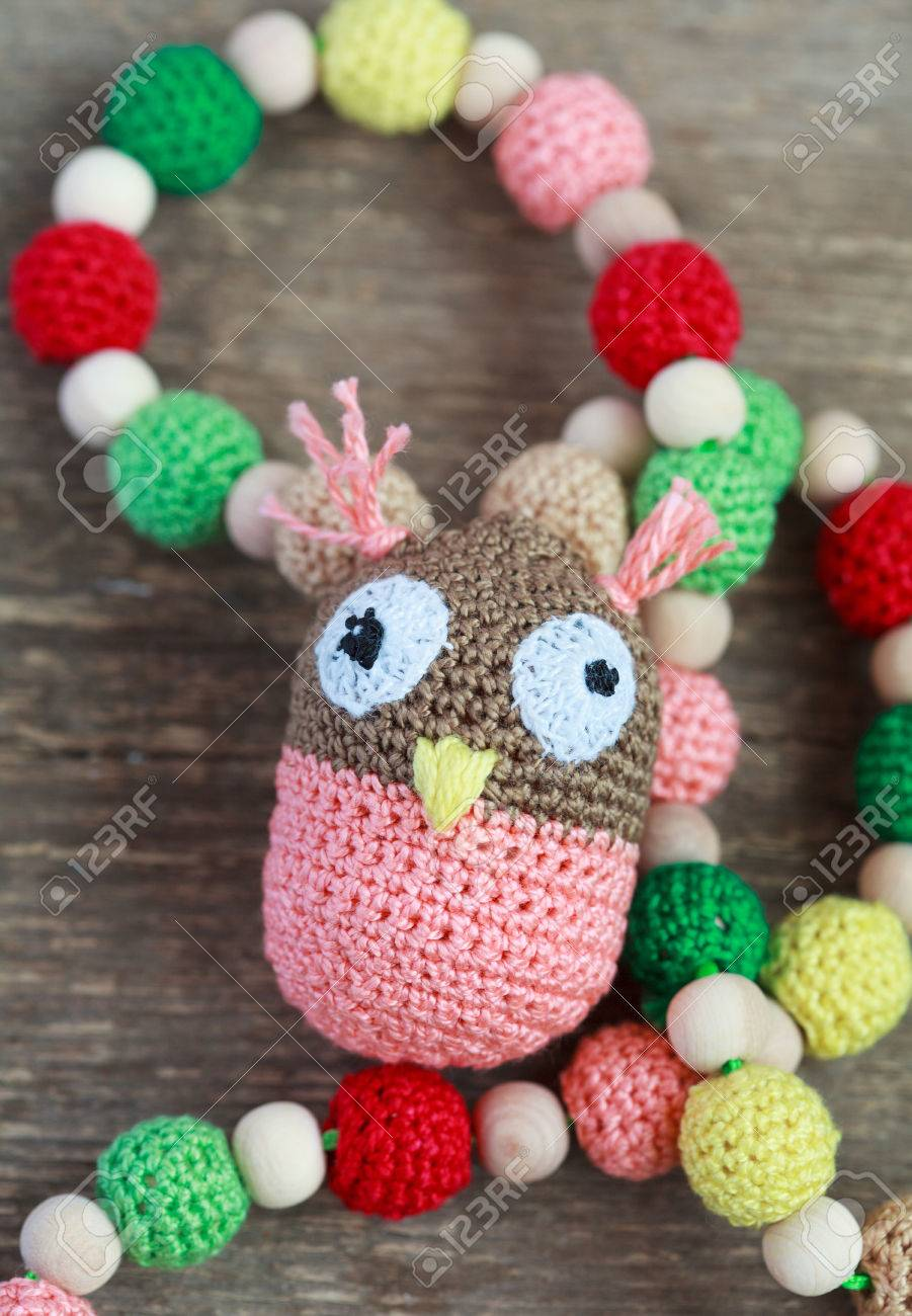 Necklace Made From Knitted Beads For The Baby Sitting In A Sling ...