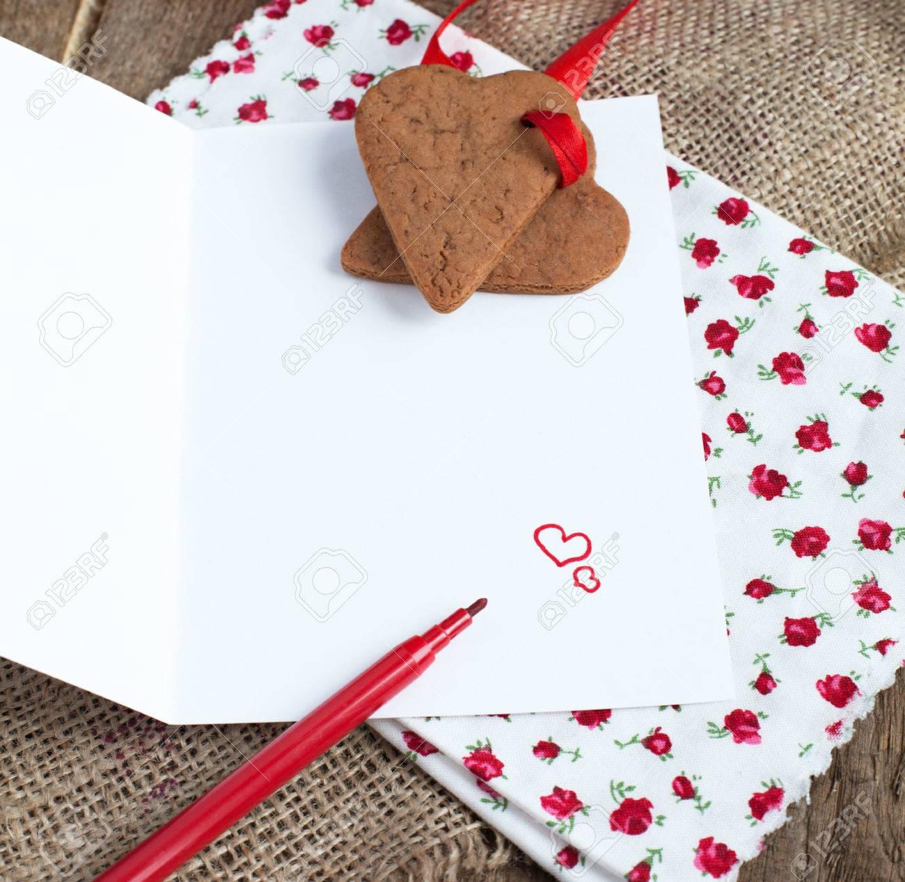 Carta De Amor De San Valentín Con La Forma Del Corazón Galletas ...