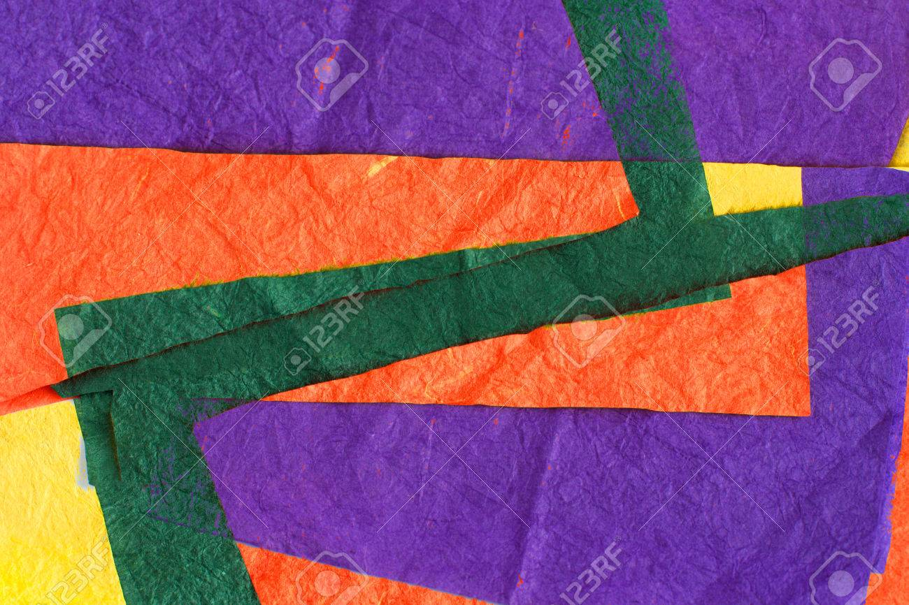 Colored Sheets Of Crumpled Paper: Orange, Green, Yellow, Purple ...