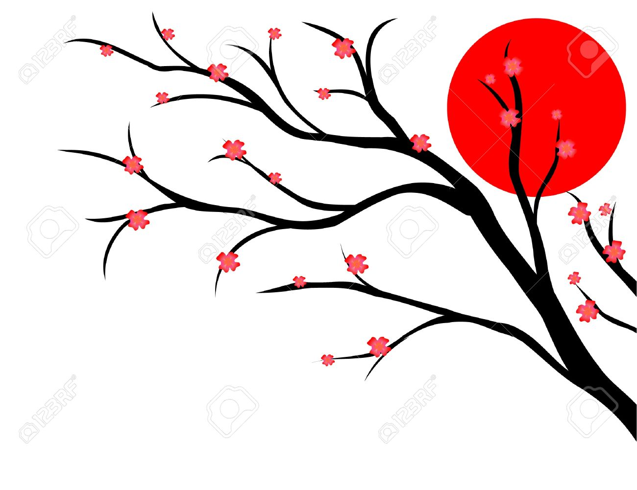 branch of cherry, japanese style Stock Vector - 17822746