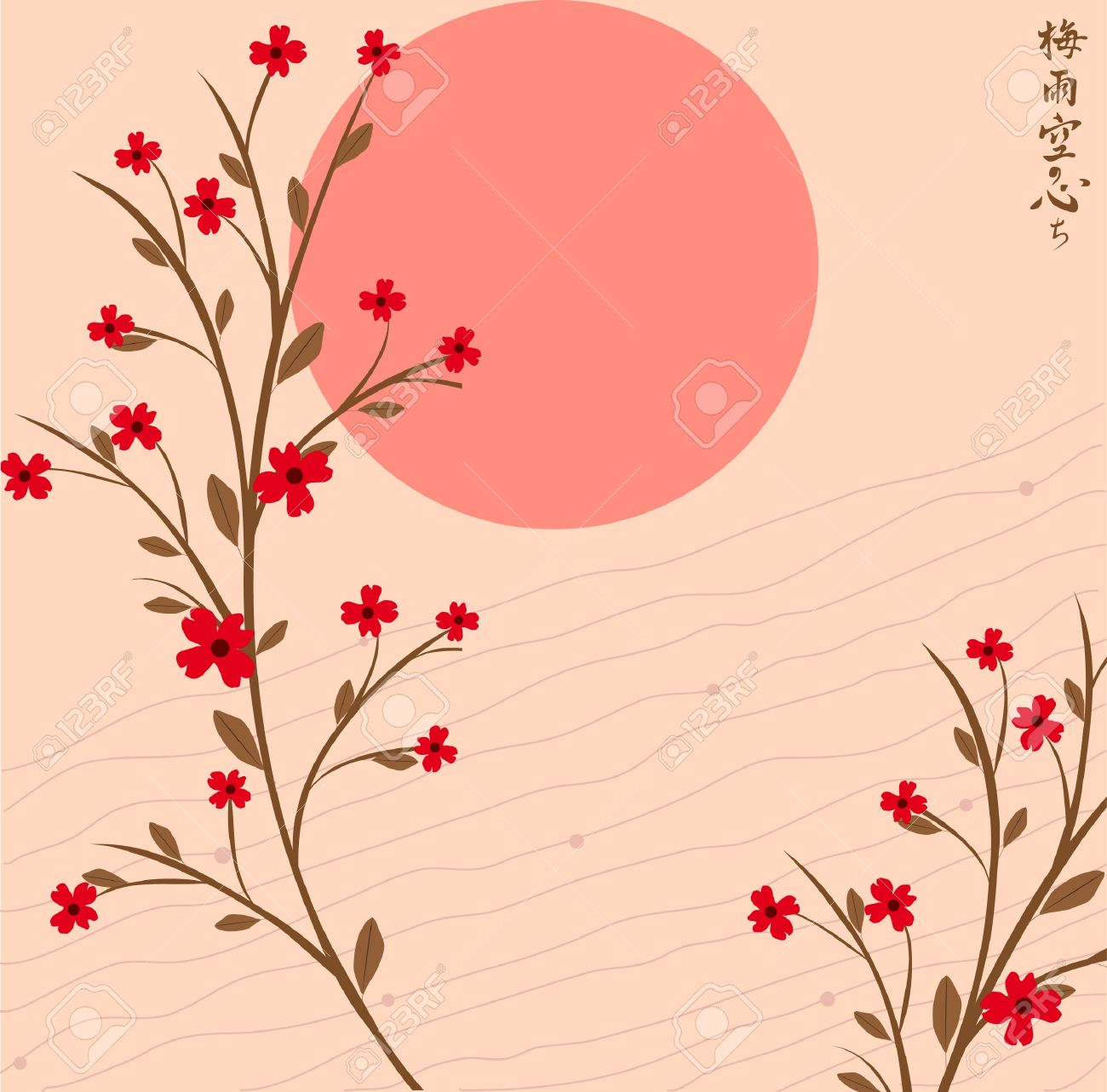 Branch of a plant, the Japanese style, background Stock Vector - 17823100