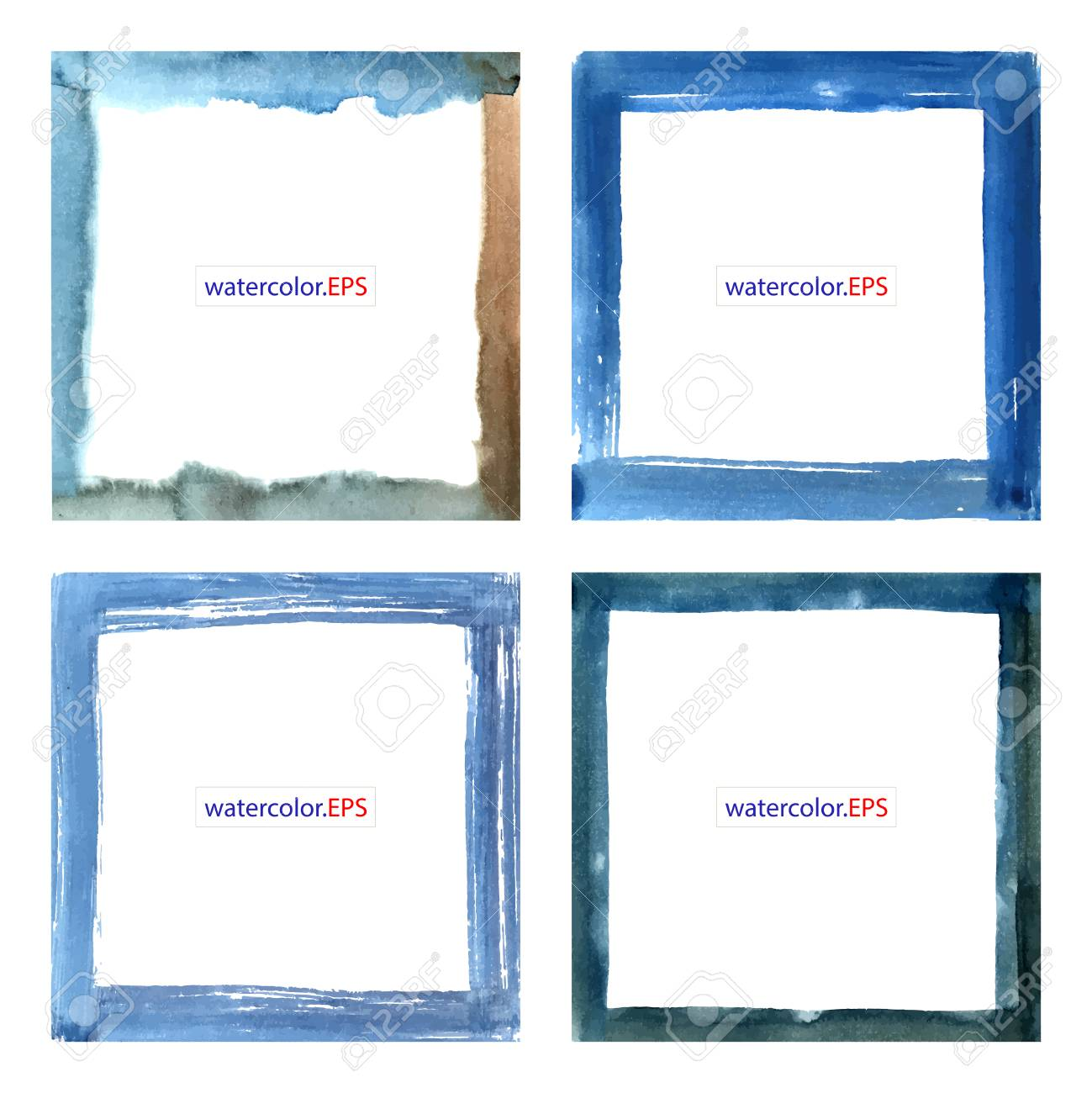Set Watercolor Artistic Frames. Vector Handdrawn Illustration ...
