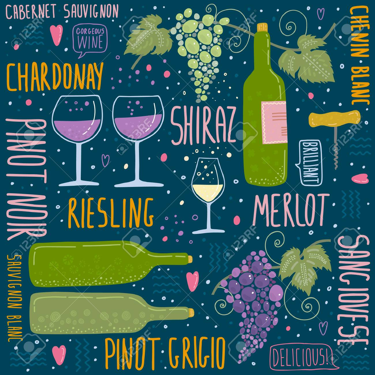 Wine Festival Poster Seamless Pattern Royalty Free Cliparts Vectors