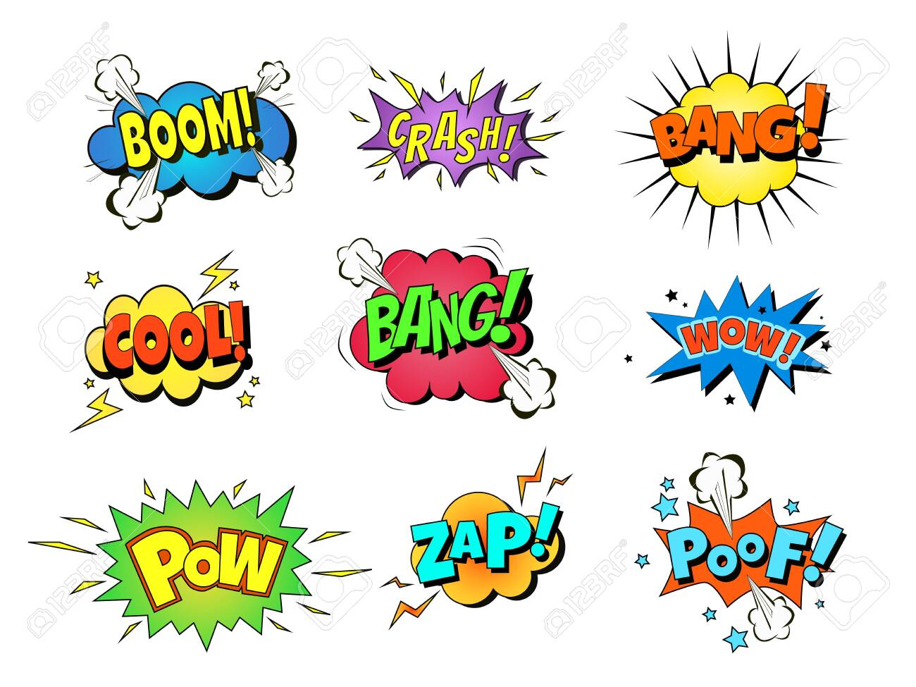 Collection of nine multicolored comic sound Effects. Vector cartoon explosions with different emotions - 141849768