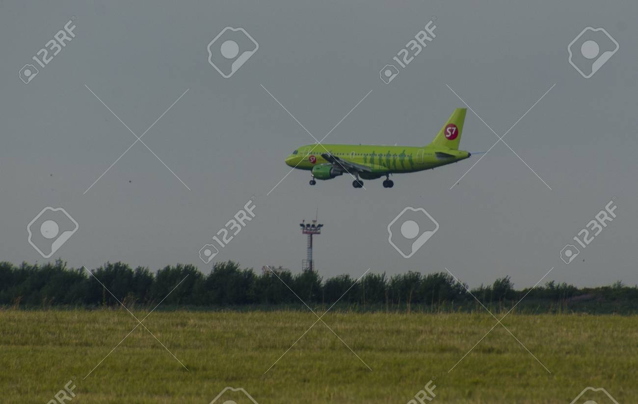 8 JULY 2018 Russia, Moscow  The aircraft Airbus A319 S7 Airlines
