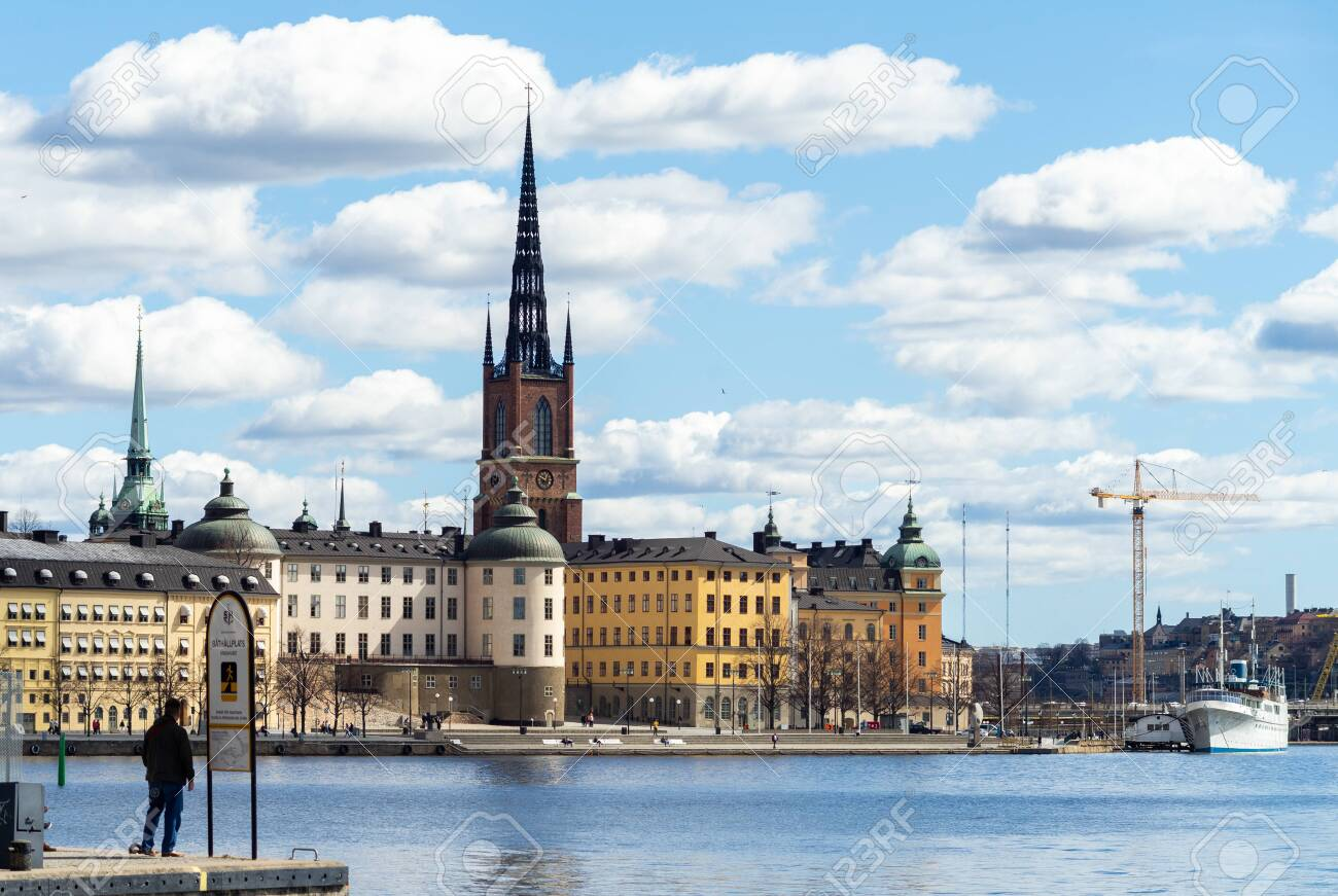 April 22, 2018. Stockholm, Sweden. Panorama of the historic center of Stockholm in clear weather. - 152684420