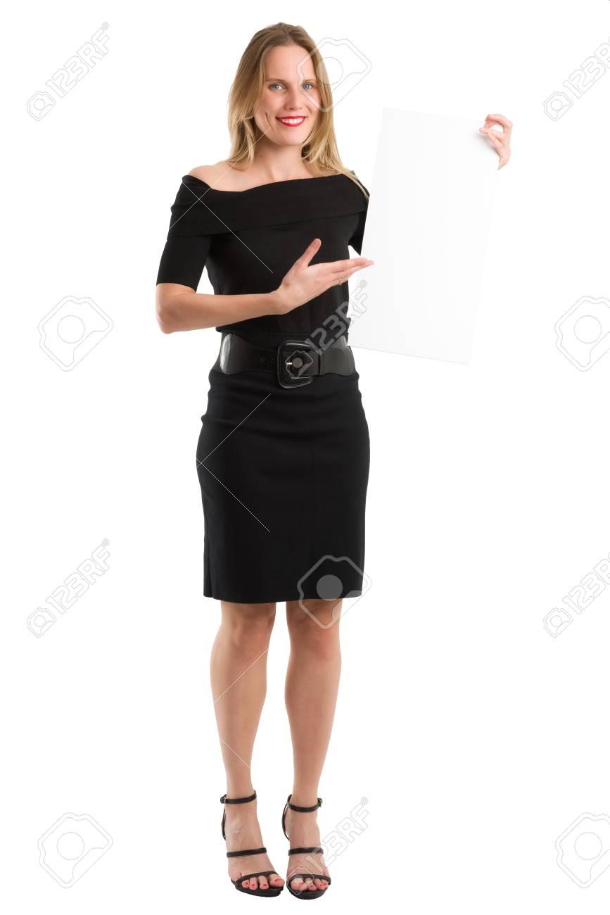 Pour Tableau Femme Blonde En Sur Tenant Quelque Présenter Robe Blanc Élégante Jolie Noire Un ChoseIsolé 4Lcj53ARq