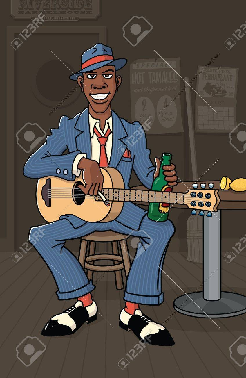 A nameless bluesman plays guitar in a deep south roadhouse. Stock Vector - 11243568