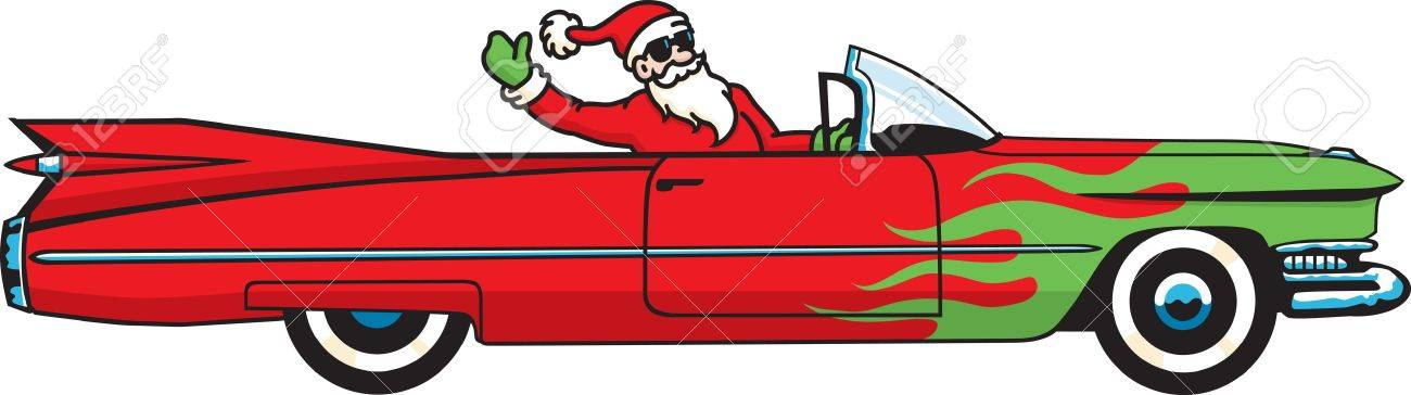 Cool Christmas Caddy. You better watch out, you better not cry... Santa Claus is coming to town in a hopped-up convertible! Stock Vector - 11243553