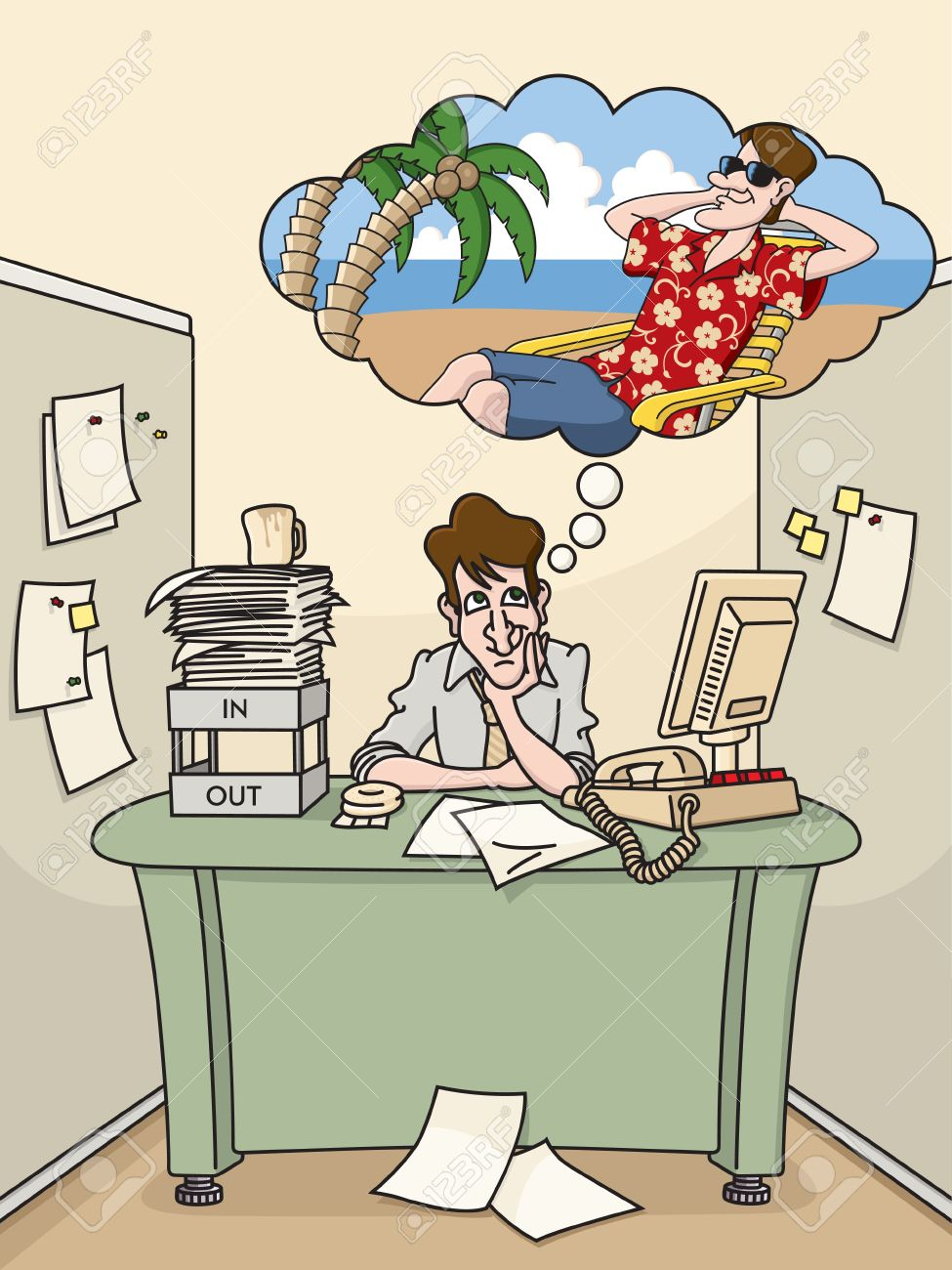 Office worker dreams of tropical vacation Stock Vector - 11398750