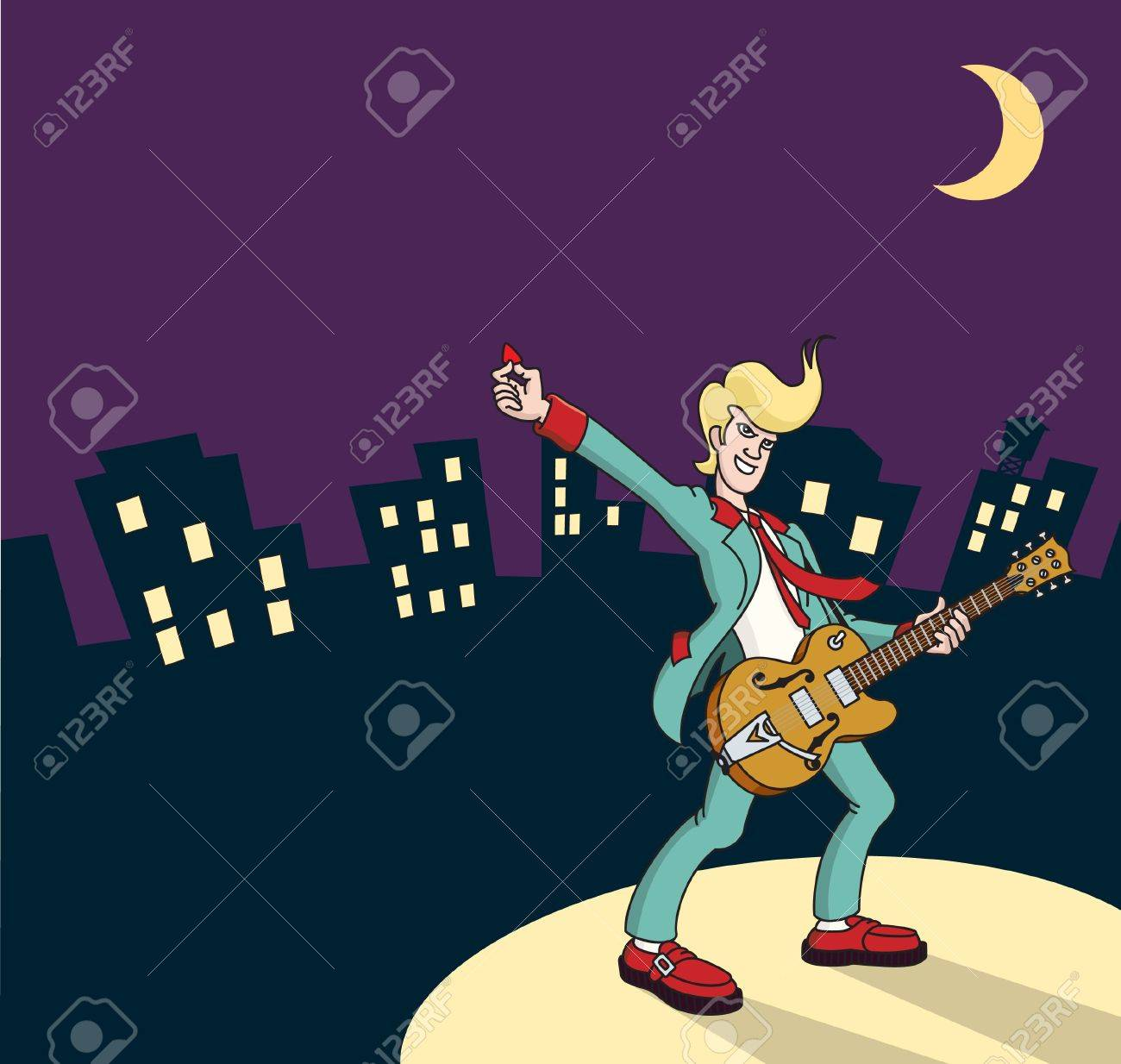 Rock and Roll guitarist with city backdrop Stock Vector - 11398768