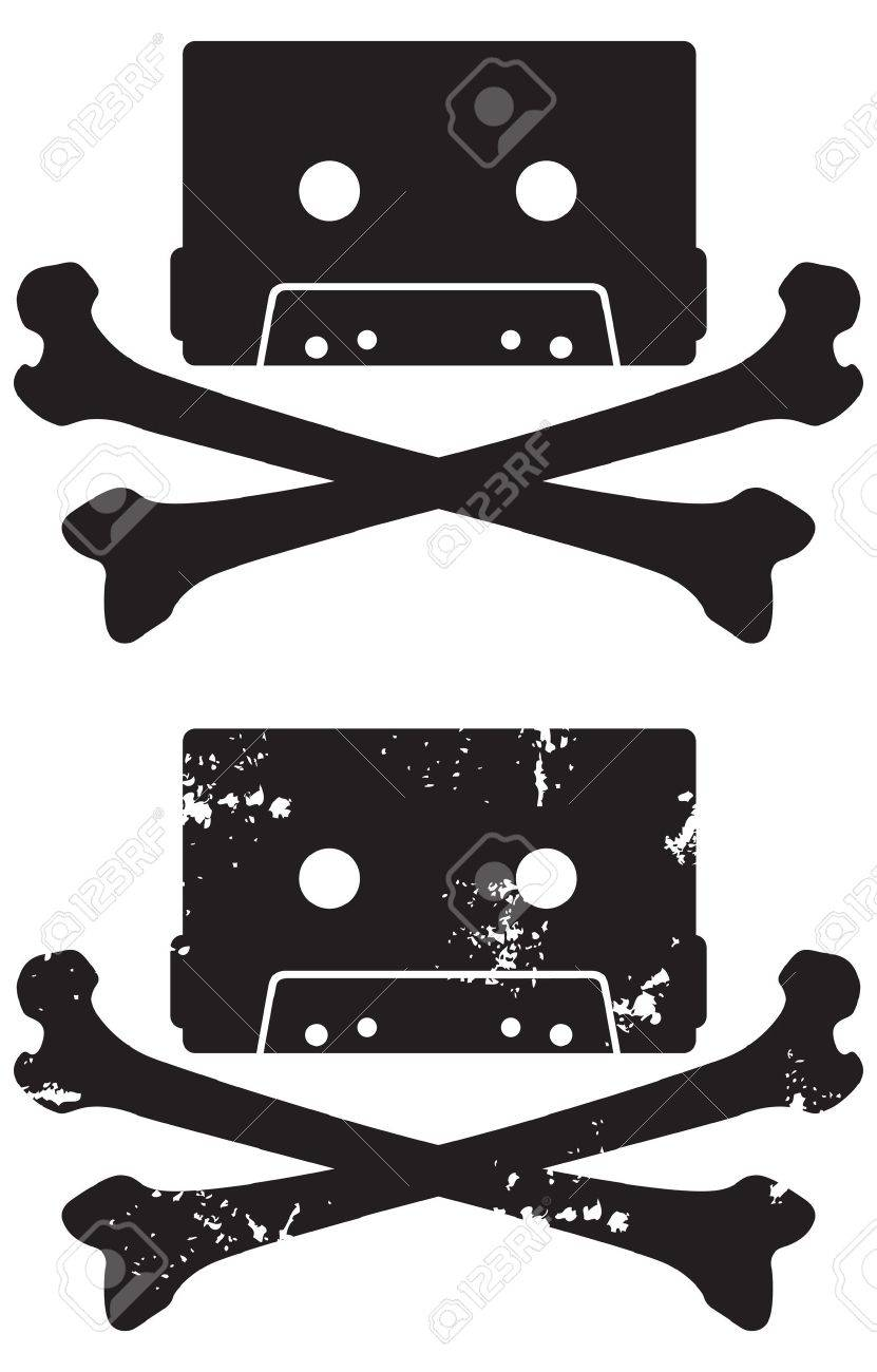 Cassette Skull and crossbones icon  Includes grunge and clean versions  Easy to edit shapes and colors Stock Vector - 12489717