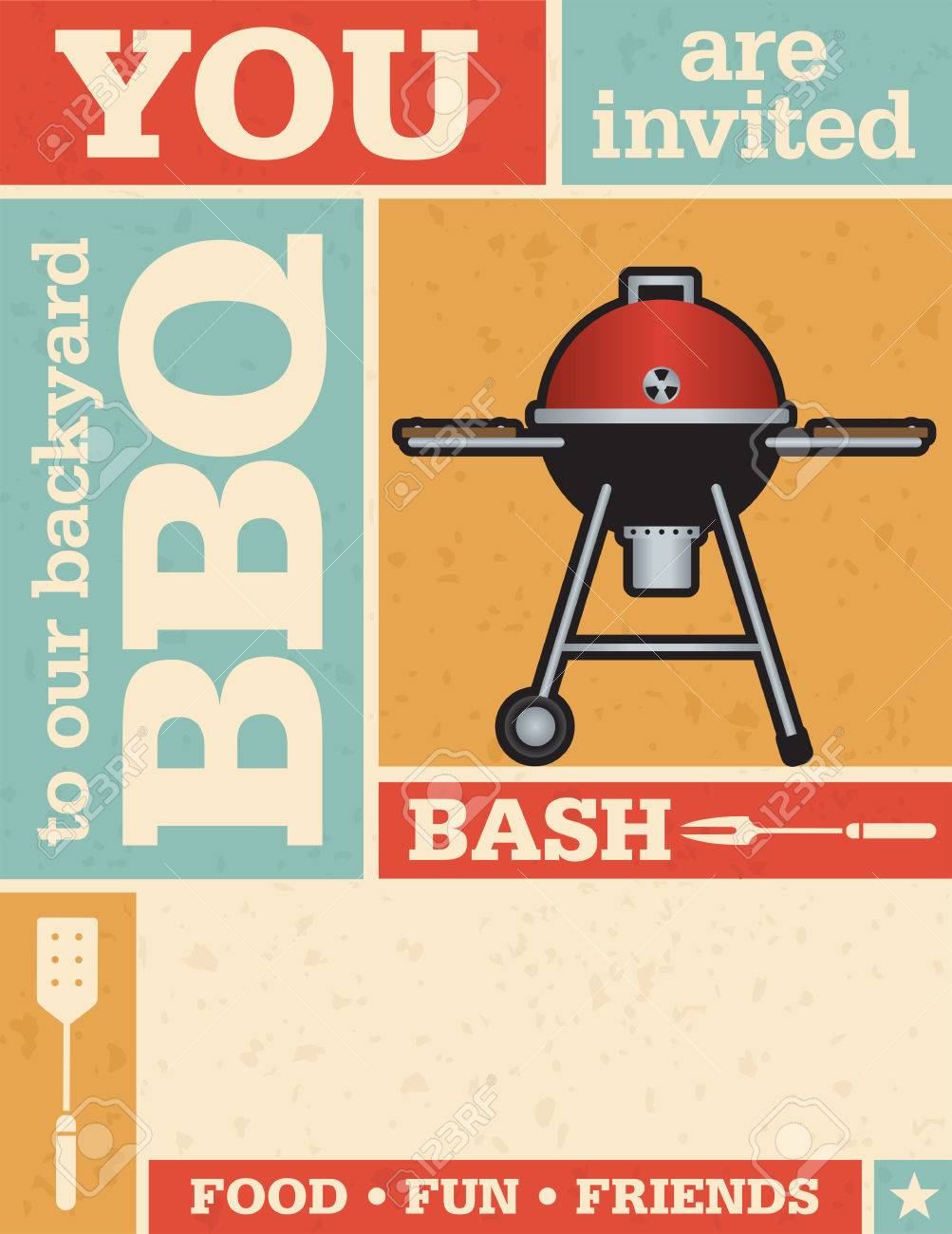Retro Barbecue Party Invitation. Vector Design With Grunge Texture ...