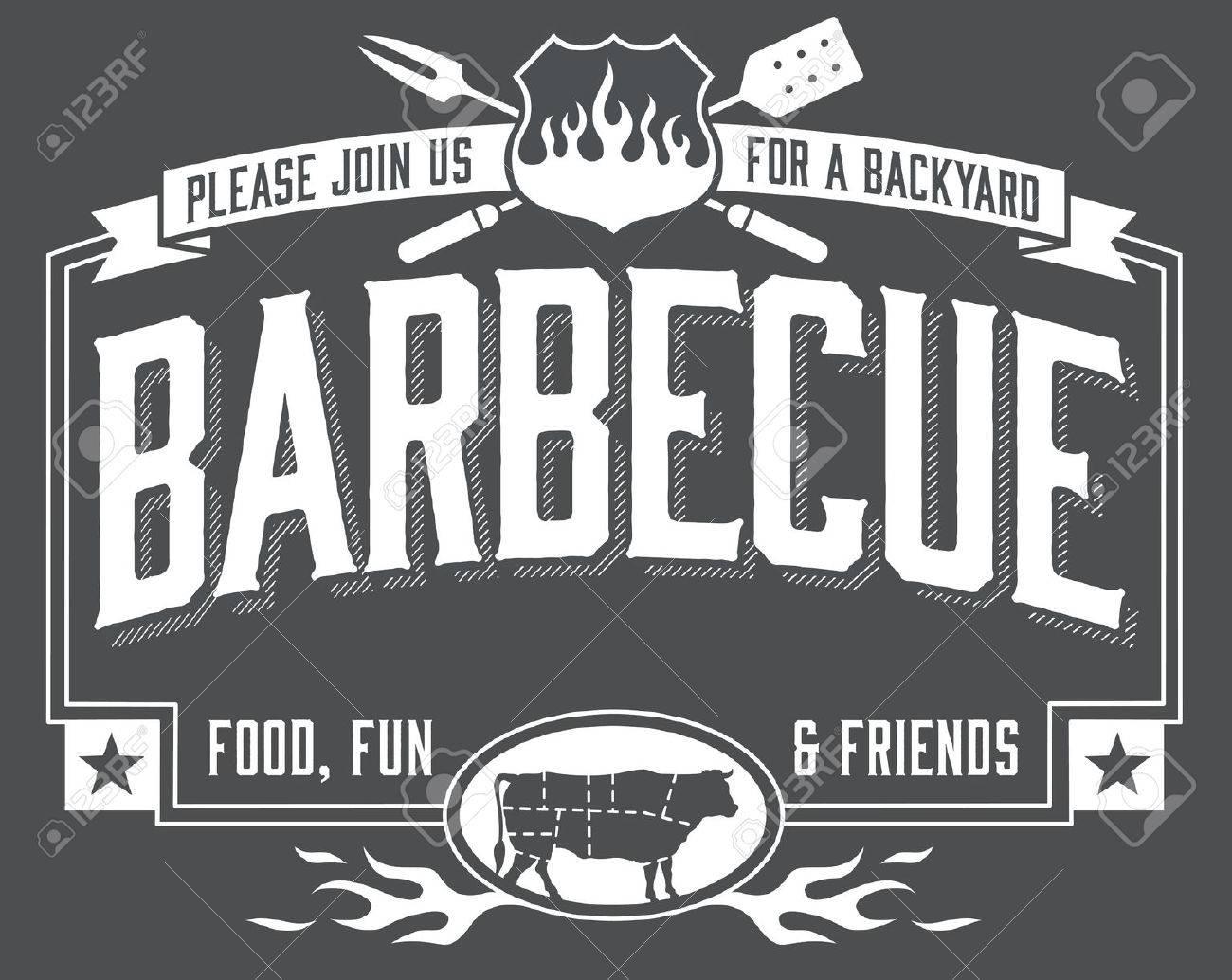 backyard barbecue invitation with chalkboard look easy to edit