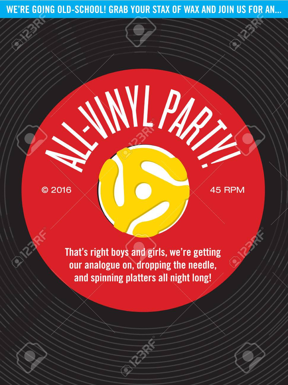 All Vinyl Record Party Invitation Vector Design Featuring 45