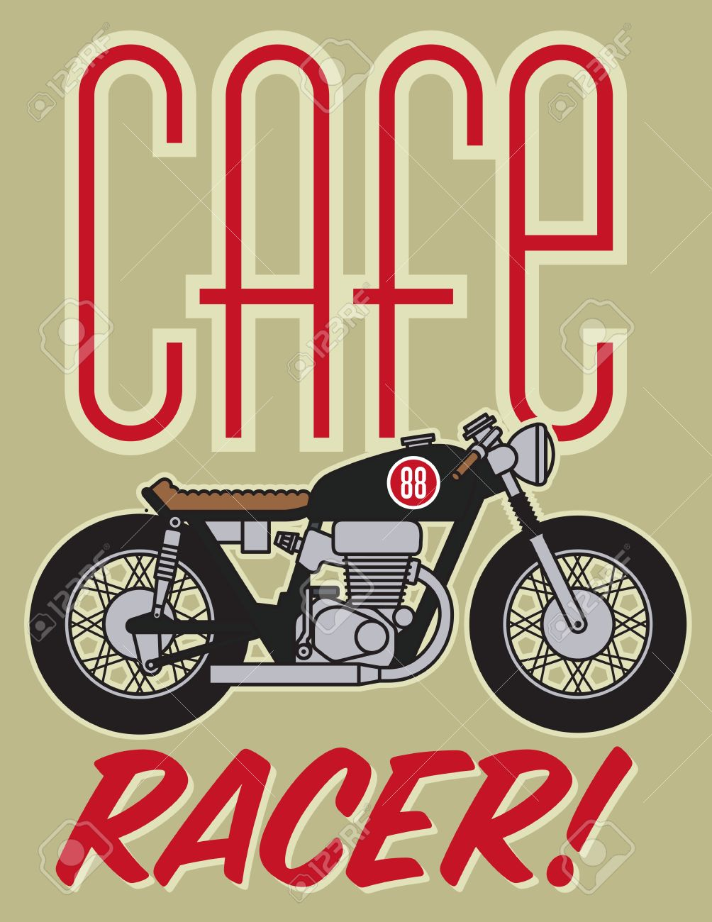 Vector Illustration Of Classic Cafe Racer Motorcycle Royalty Free