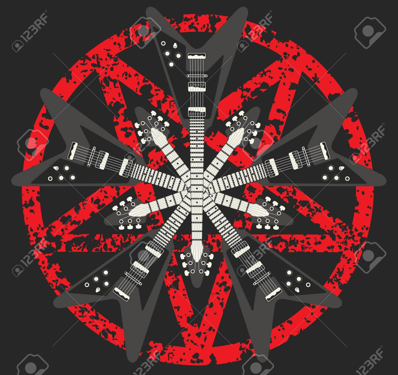heavy metal guitar and pentagram design royalty free cliparts
