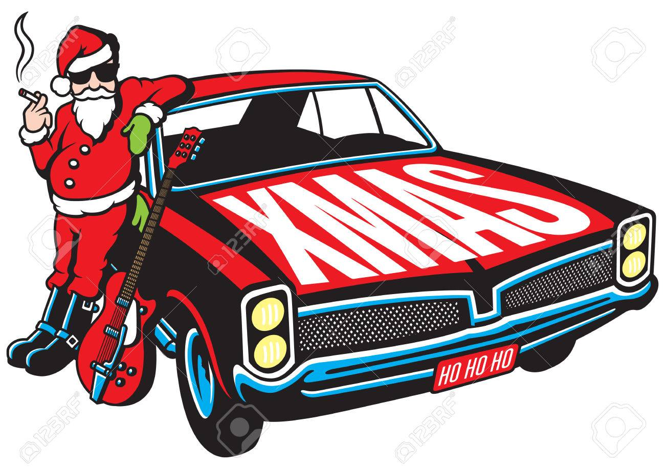 Rock And Roll Santa Claus Vector Illustration With Vintage Muscle