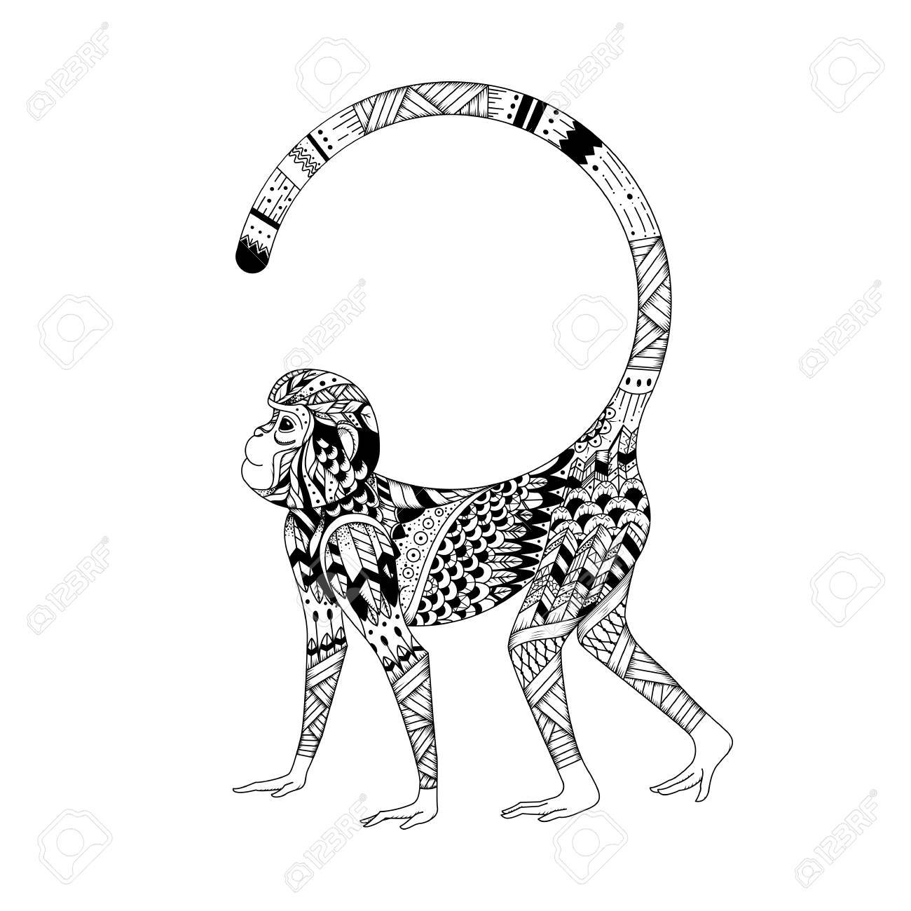 13405ad1a9f57 Vector - Vector Monkey style zentangl. Graphic illustration style zentangle  2016. Sketch of tattoo totem tribal
