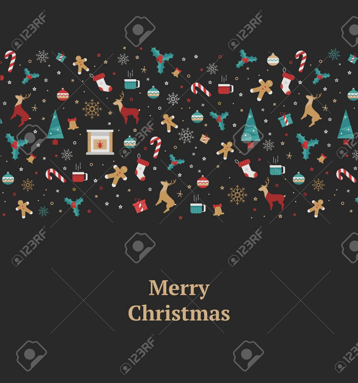 merry christmas decorations elements seamless pattern border illustration for new year 2106 with a reindeer