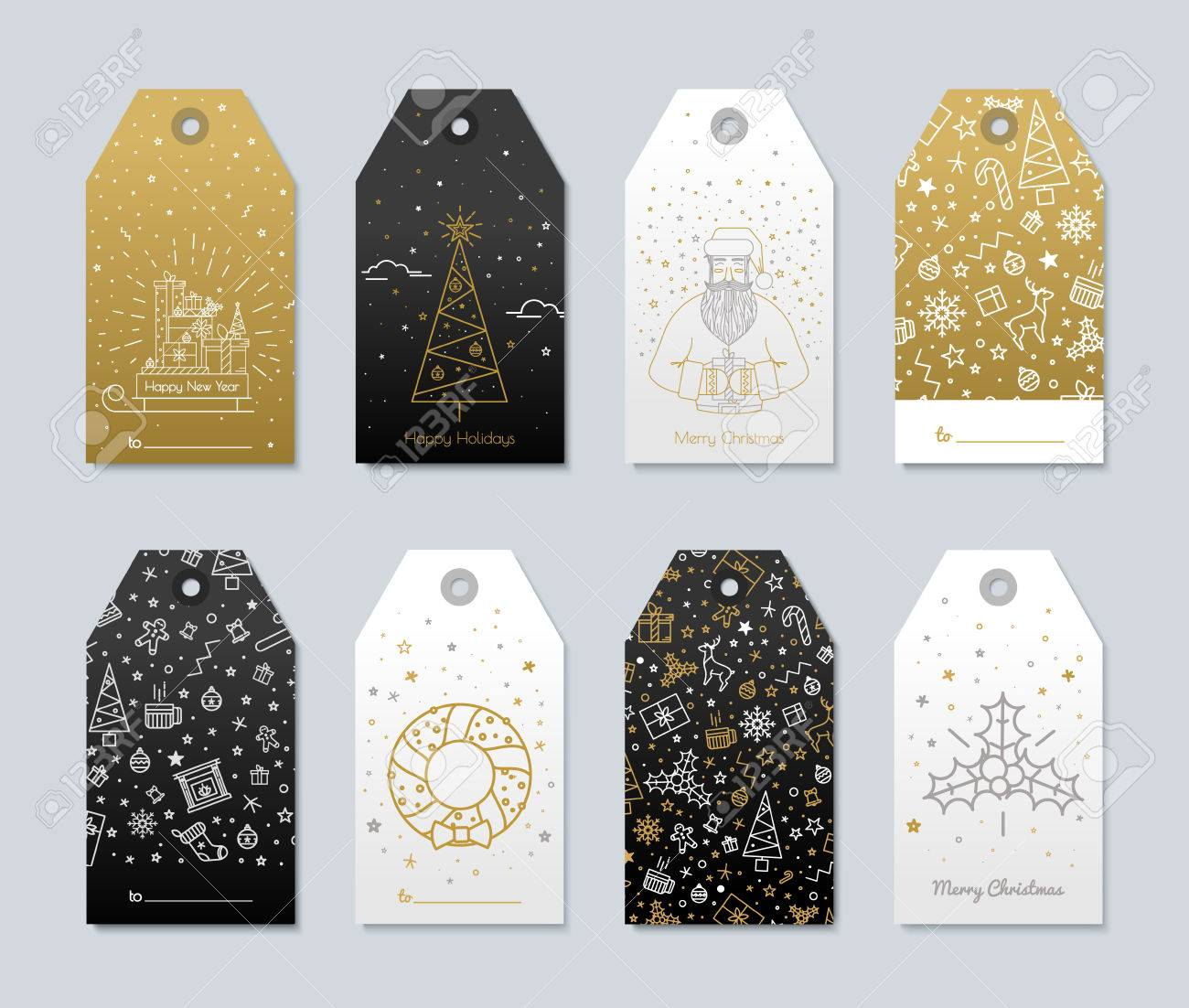 set of new year and christmas labels for gifts luxury gold color