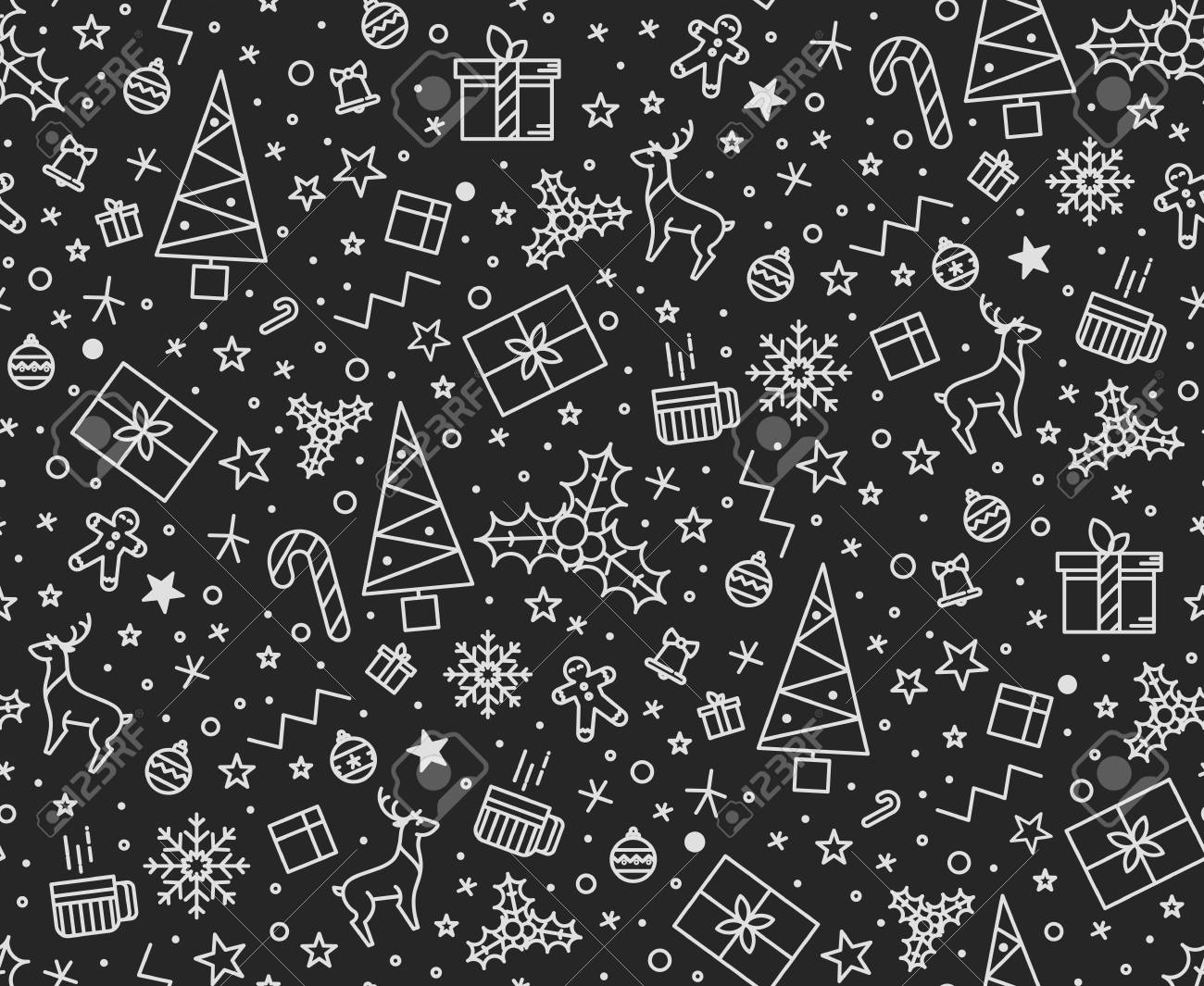 Black Christmas Seamless Pattern For Gift Wrapping For Cards ...