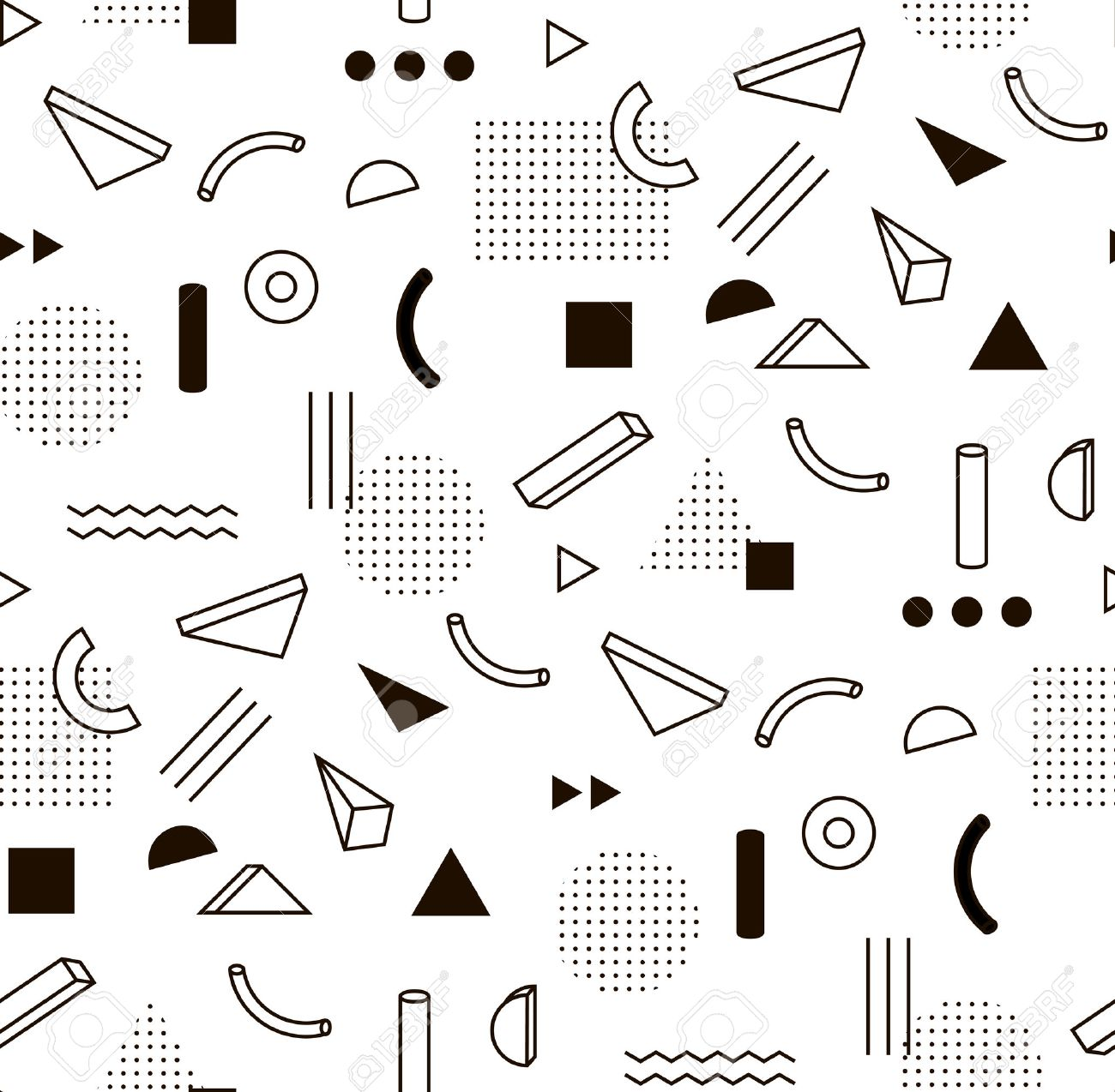 pattern with black and white geometric shapes. Hipster fashion Memphis style. Stock Vector - 53392556