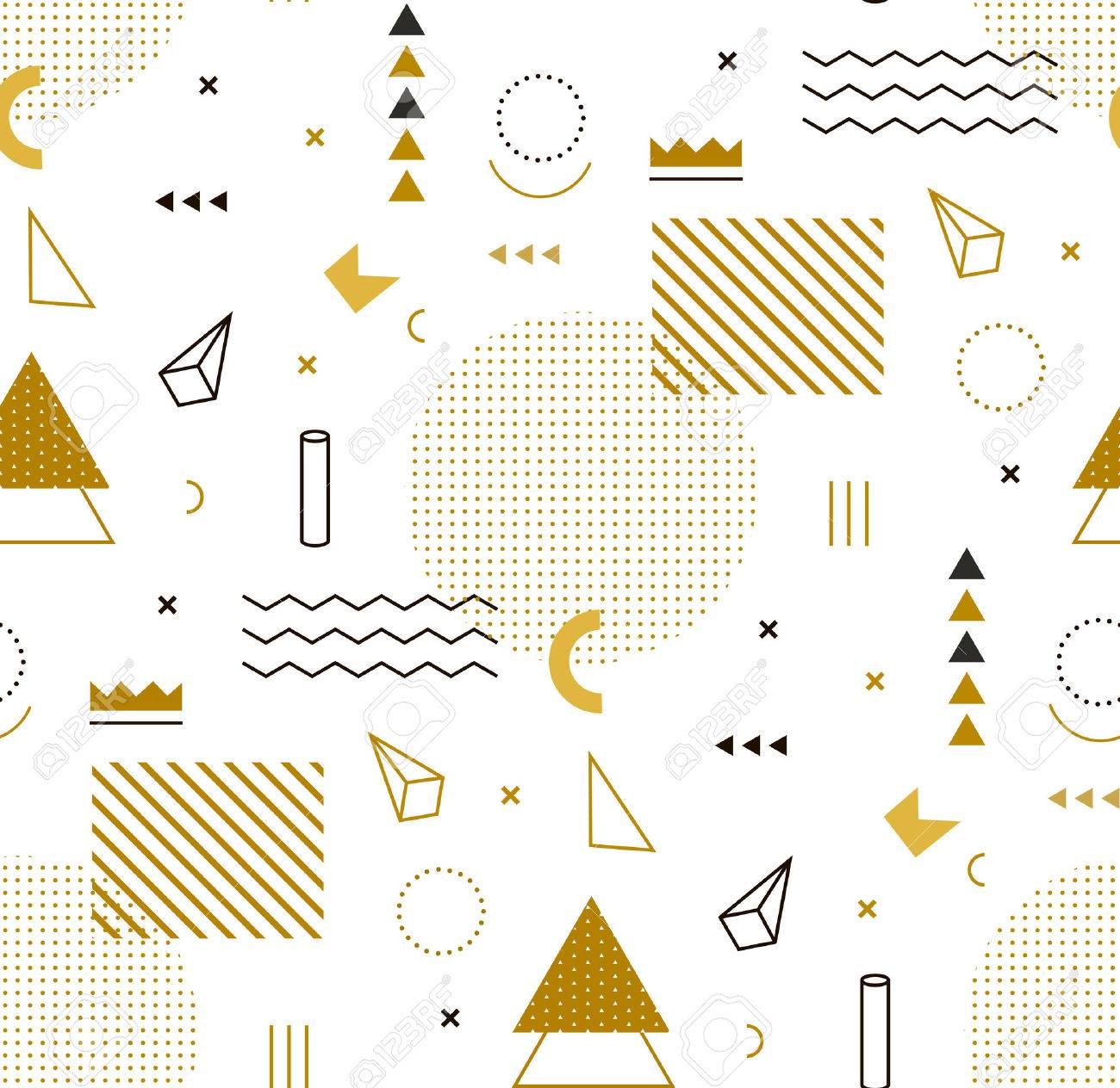 Geometric gold pattern for fashion and wallpaper. Memphis style for fashion. - 53392564