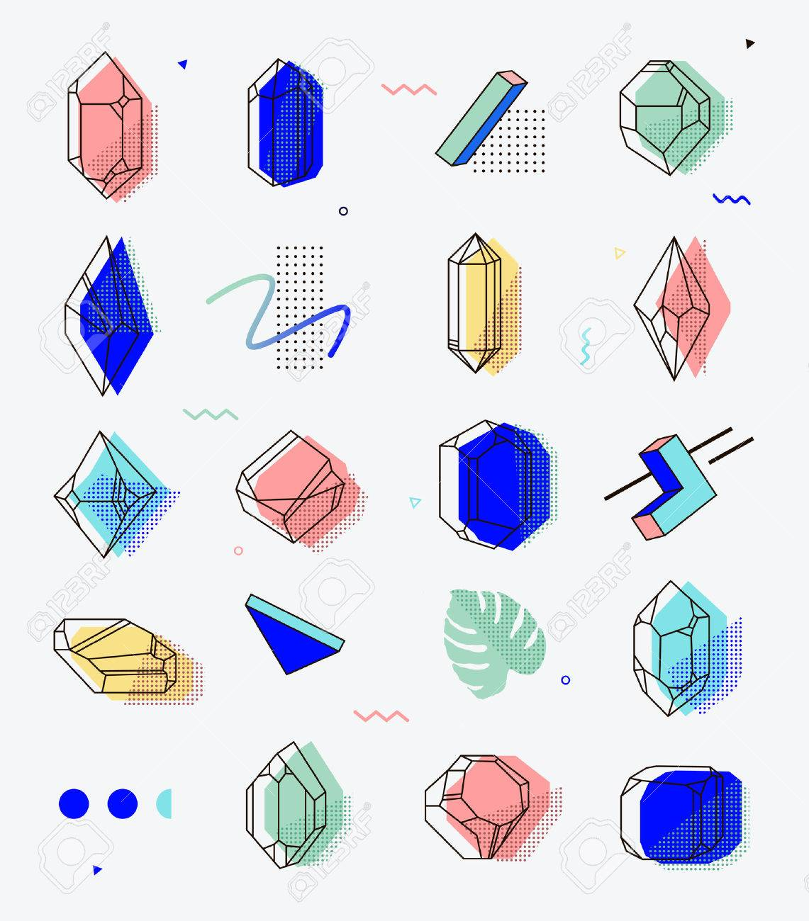 Set of space objects crystals with geometric shapes. Memphis style for hipsters. The elements for cover, fashion, t-shirts, gift cards, 80. Banque d'images - 55511453
