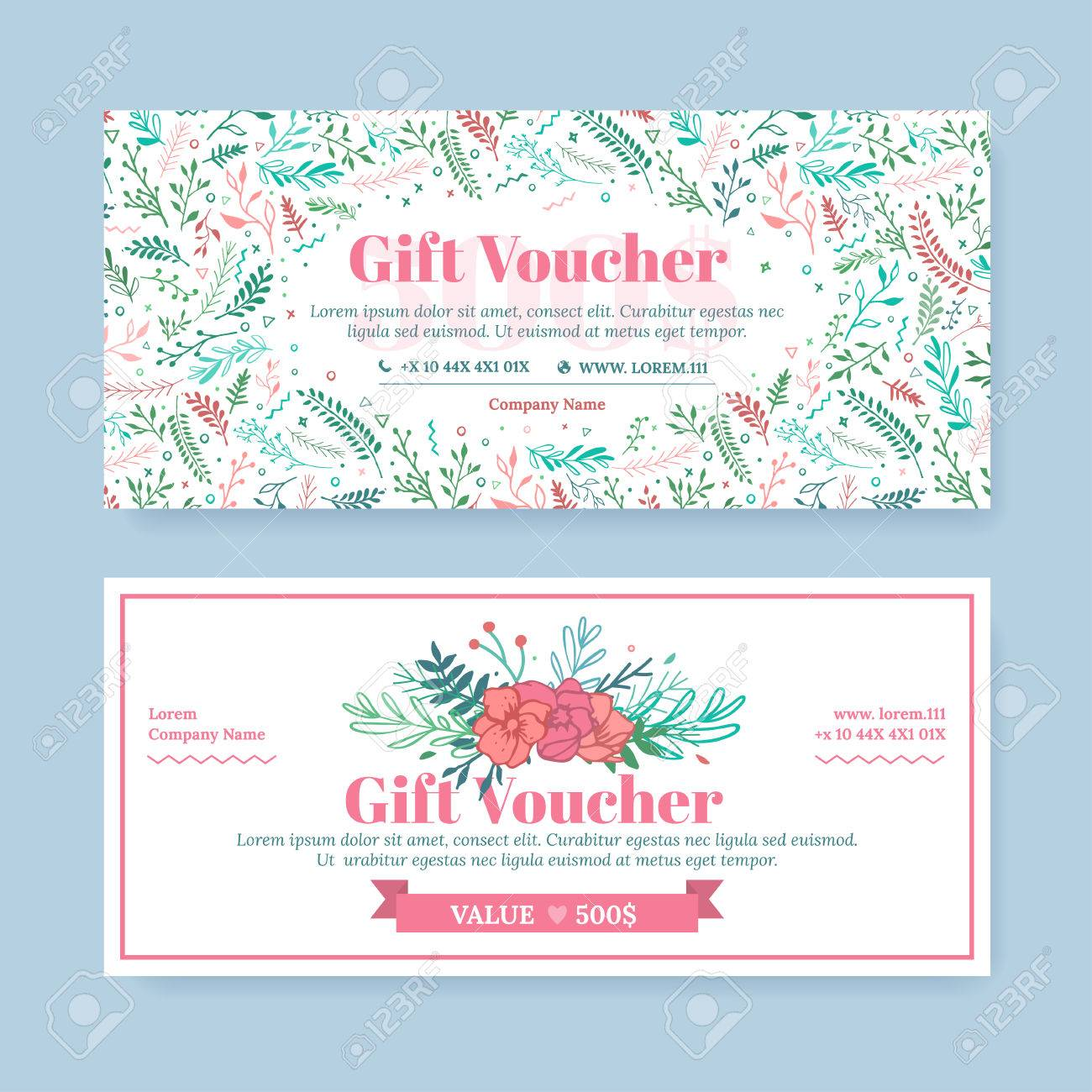 gift certificate with delicate painted flowers in boho style