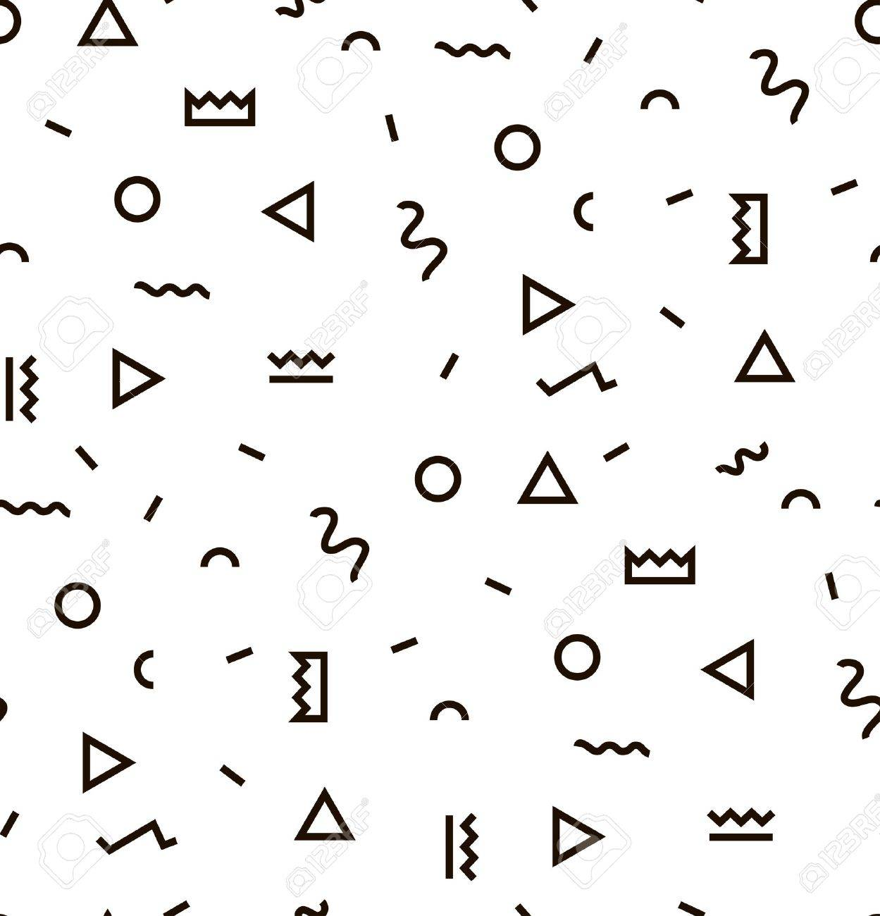 Geometric Vector pattern with black and white. Form a triangle, a line, a circle. Hipster fashion Memphis style. - 55516270