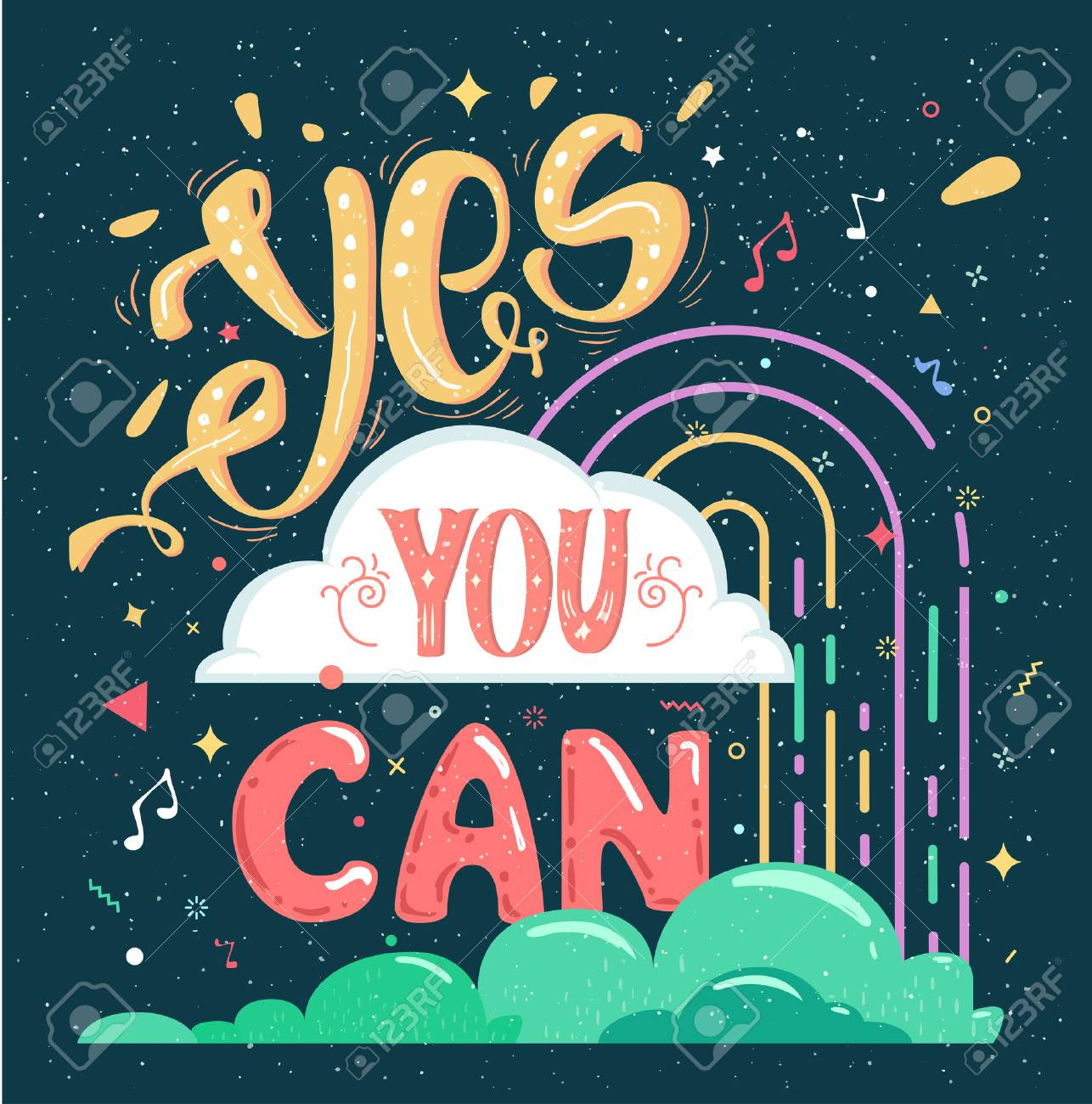 Inspirational Quotes Yes You Can Bright Cheerful Poster Lettering