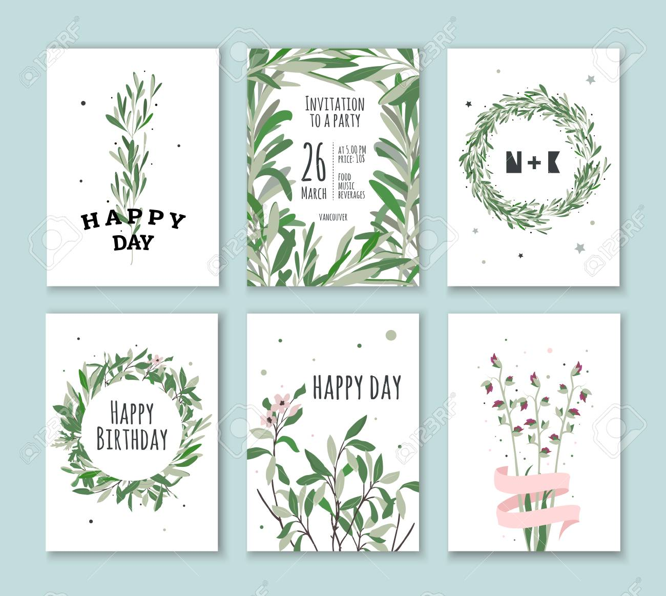 Set Invitation With Green Plants Cards For Birthdays Holidays