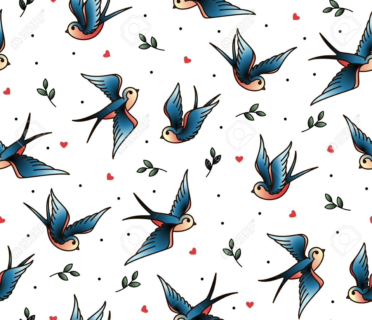 Old school tattoo vector seamless pattern with swallows twig heart imagens old school tattoo vector seamless pattern with swallows twig heart valentines day or wedding designs cover for notebook or phone junglespirit Image collections