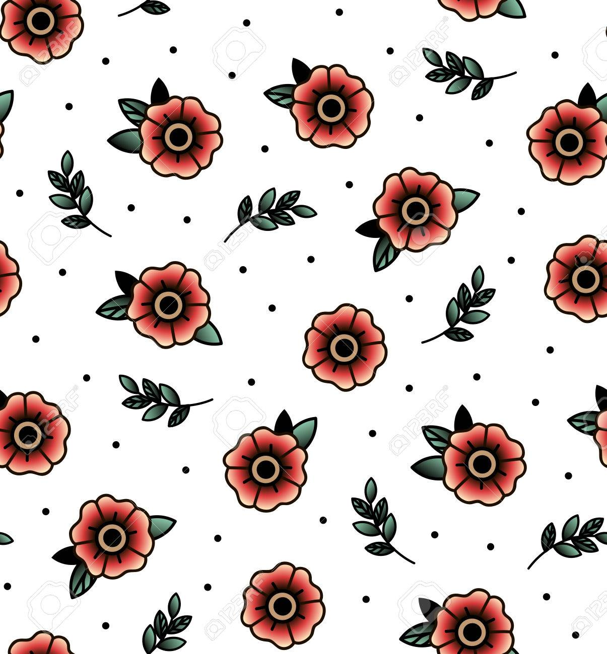 Old School Tattoo Vector Seamless Pattern With Flower Twig