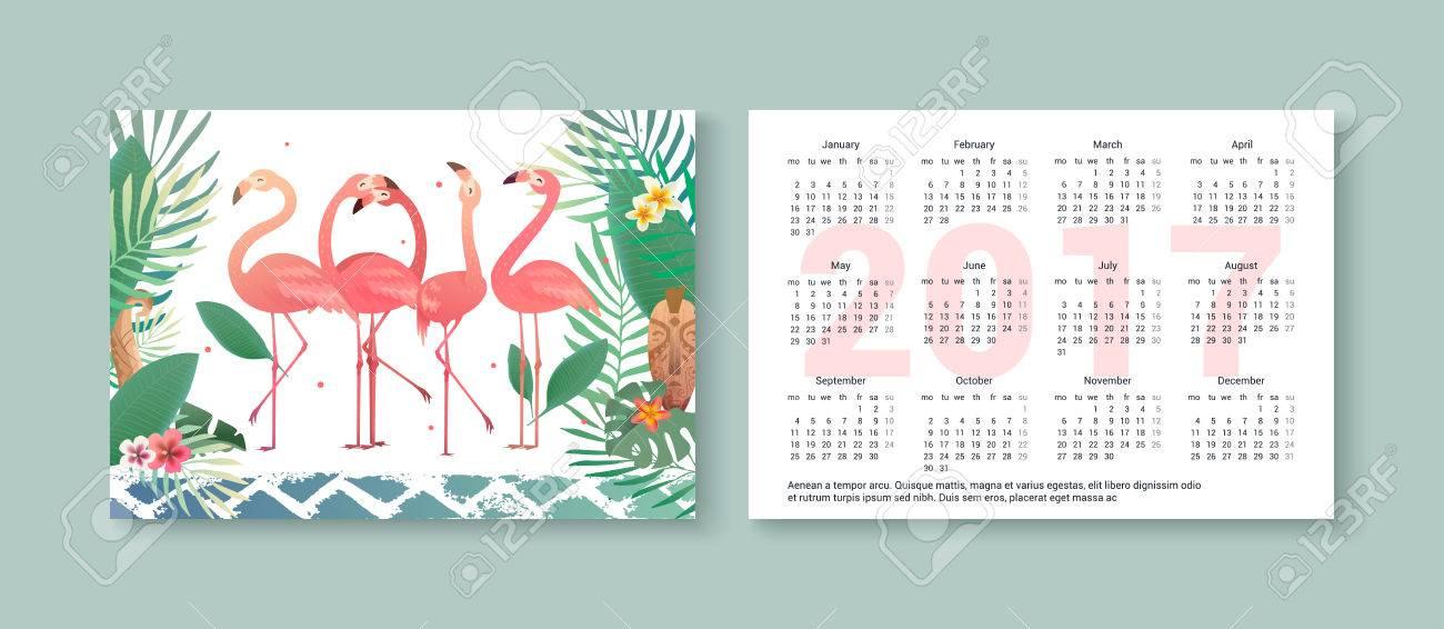 Tropical Pocket Calendar 2017 With Flamingos Palm Trees Flowers