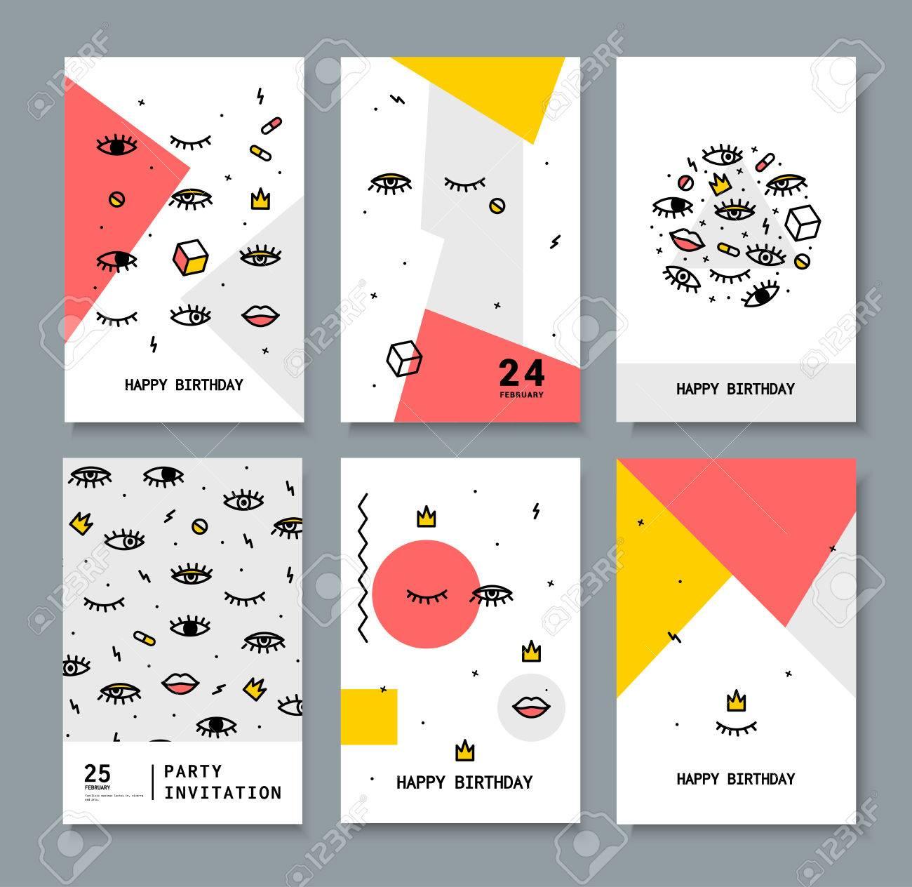 Un Conjunto De Tarjetas Para El Día De Fiesta Tarjetas Con Elementos De Diseño De Los Años 80 Ojos Brillantes Y Los Labios Para Imprimir Sobre Tela