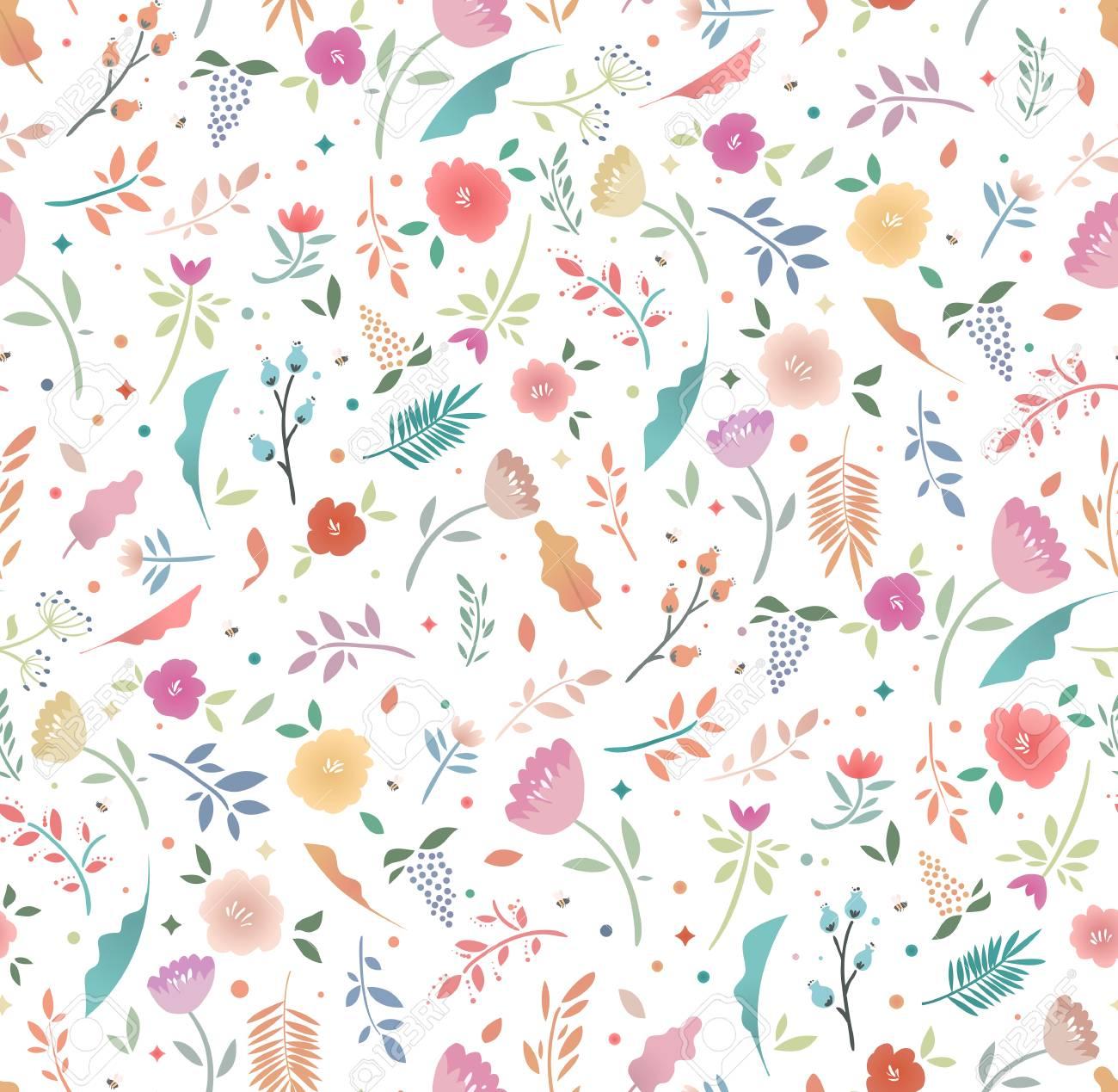 Teste Padrão Floral Sem Emenda Da Mola Em Um Fundo Branco. Flores ...