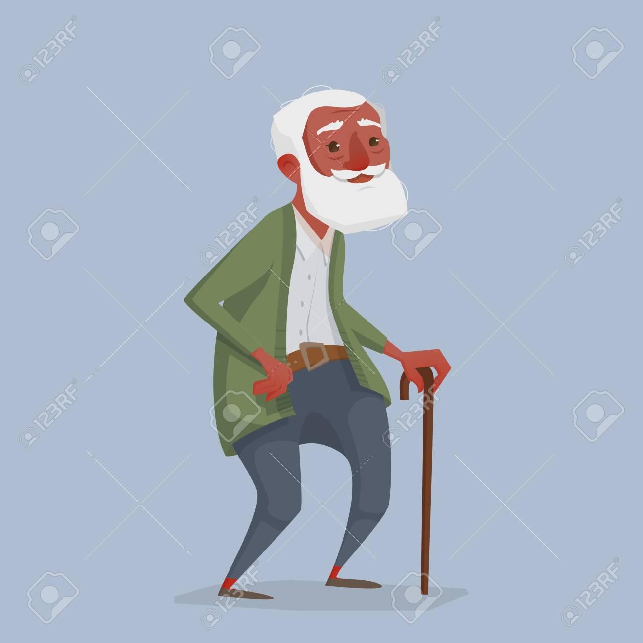 Vettoriale un vecchio africano con barba e bastone un