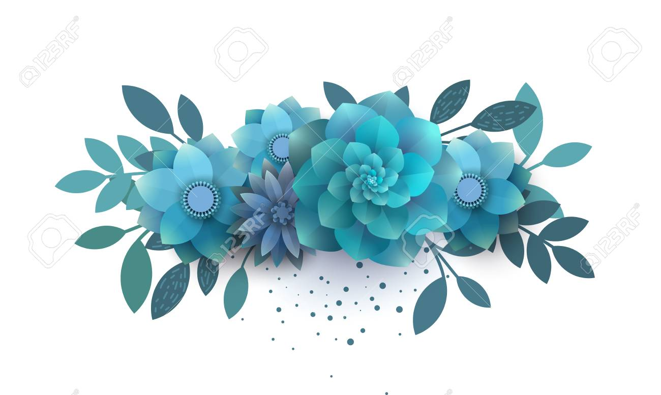 Flower Composition Of Paper Blue Flowers. Bouquet Can Be Used ...