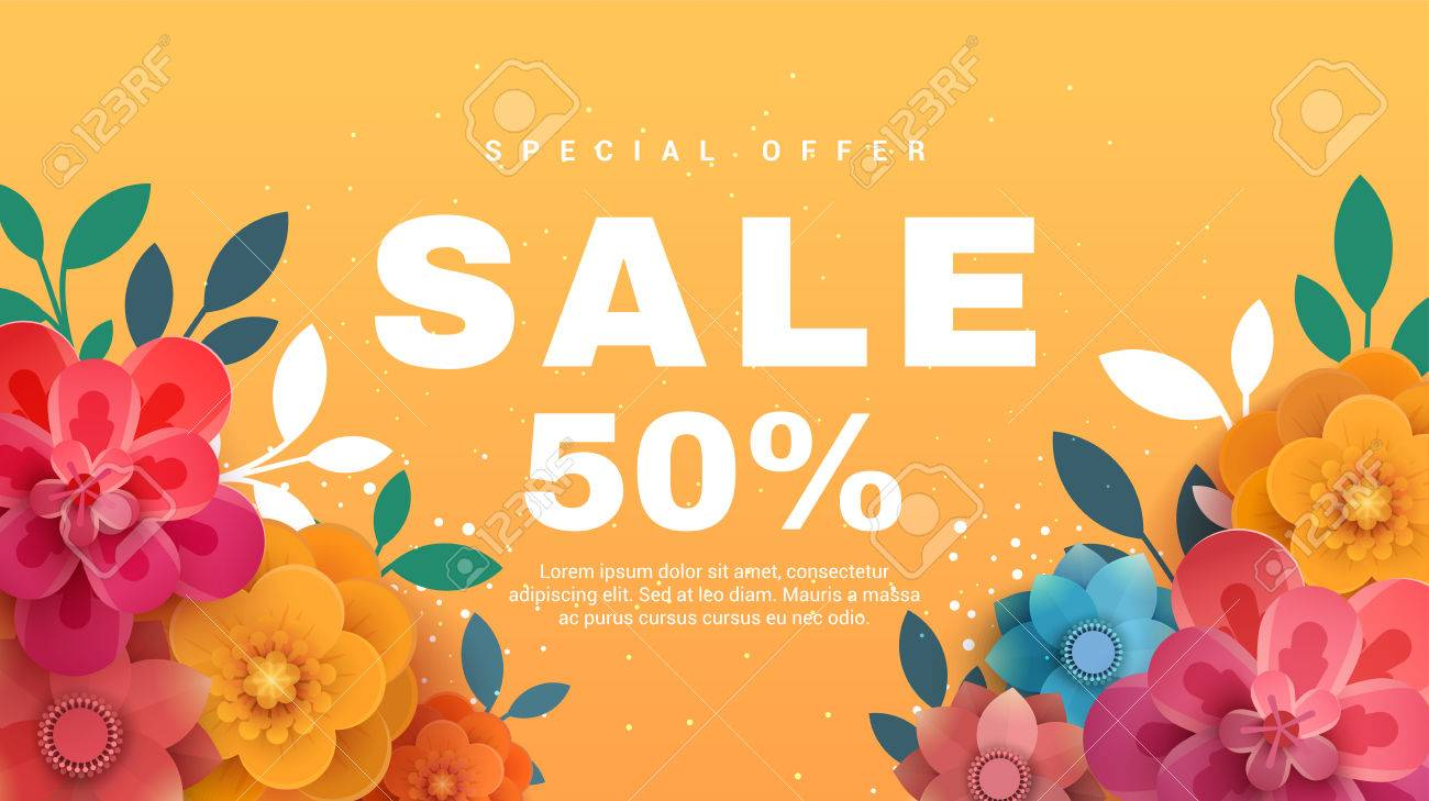 spring sale banner with paper flowers on a yellow background vector illustration banner perfect