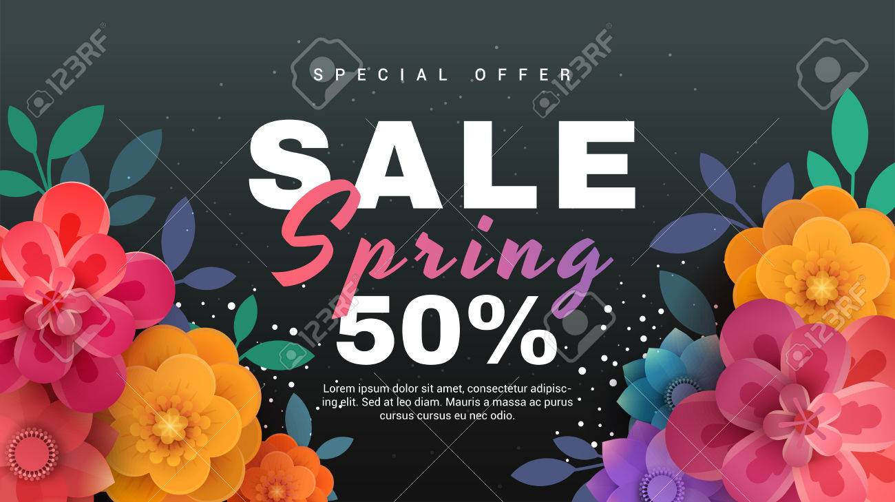 spring sale banner with paper flowers on a black background vector illustration perfect for promotions