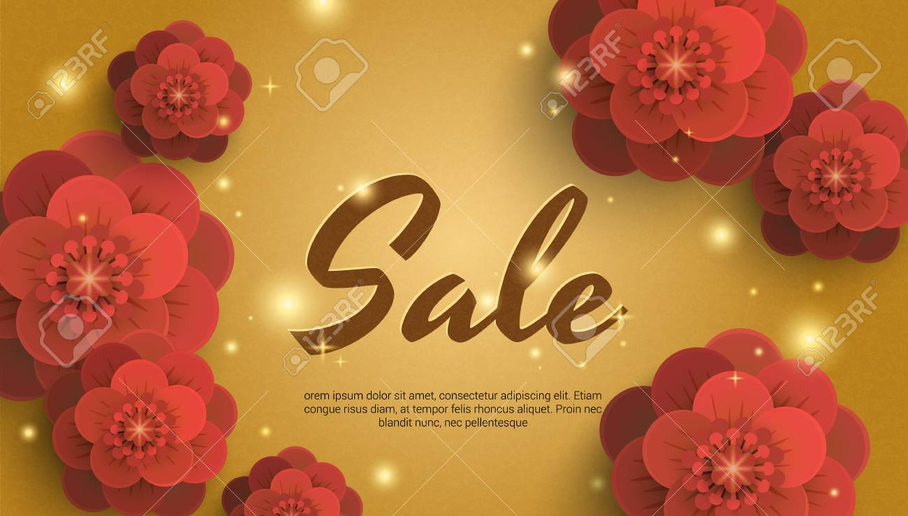 Sale Gold Background With Red Paper Flowers Banner Can Be Used