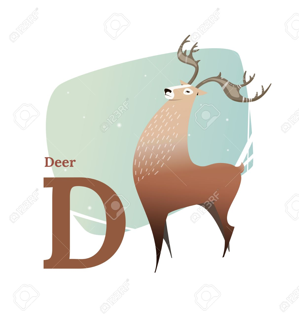 vector de alfabeto animal estilo plano brown deer de pie en la