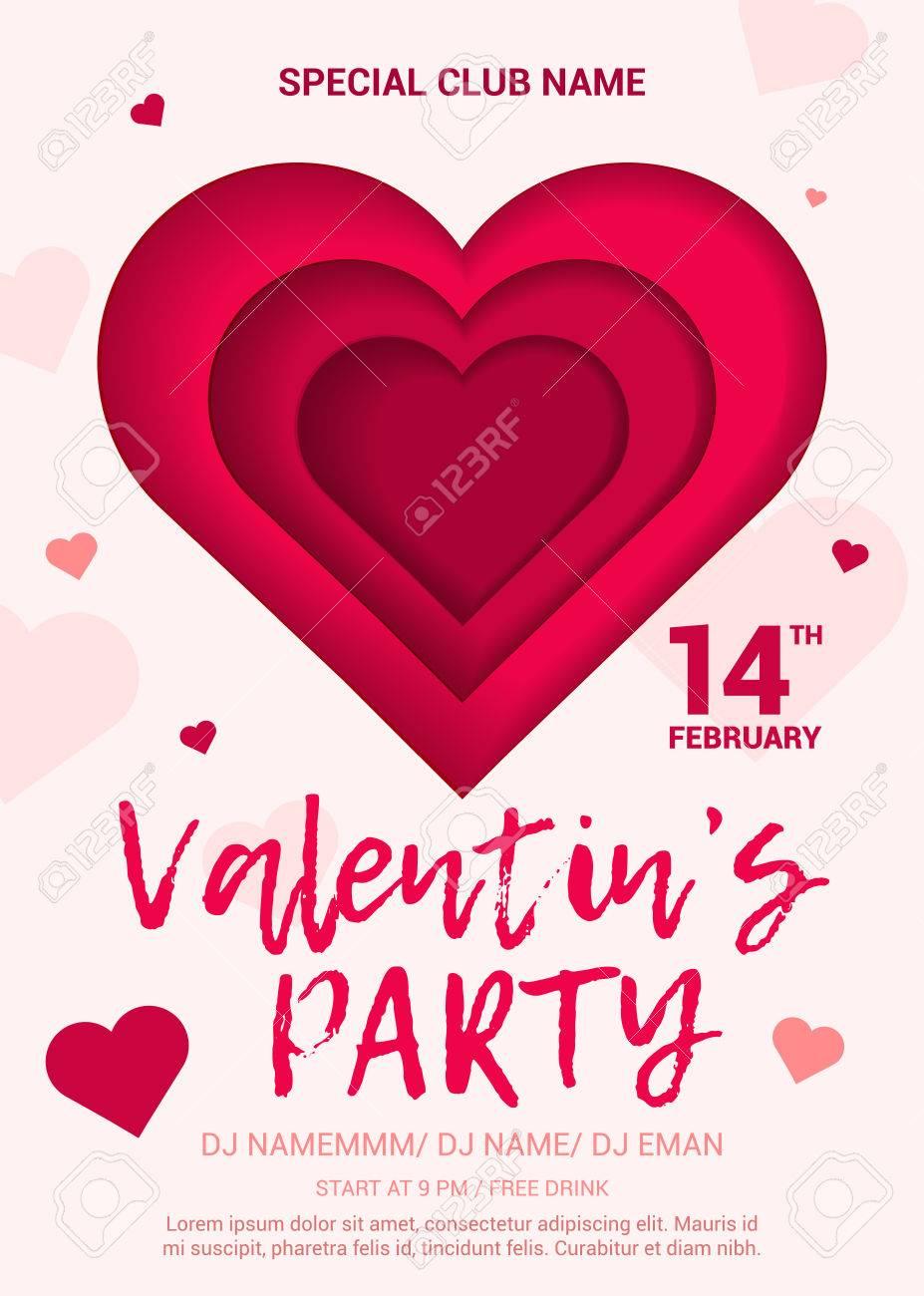 Toll Das Plakat Für Eine Party Zu Ehren Des Valentinstag. Schönes Poster Mit  Einem Herzen Im