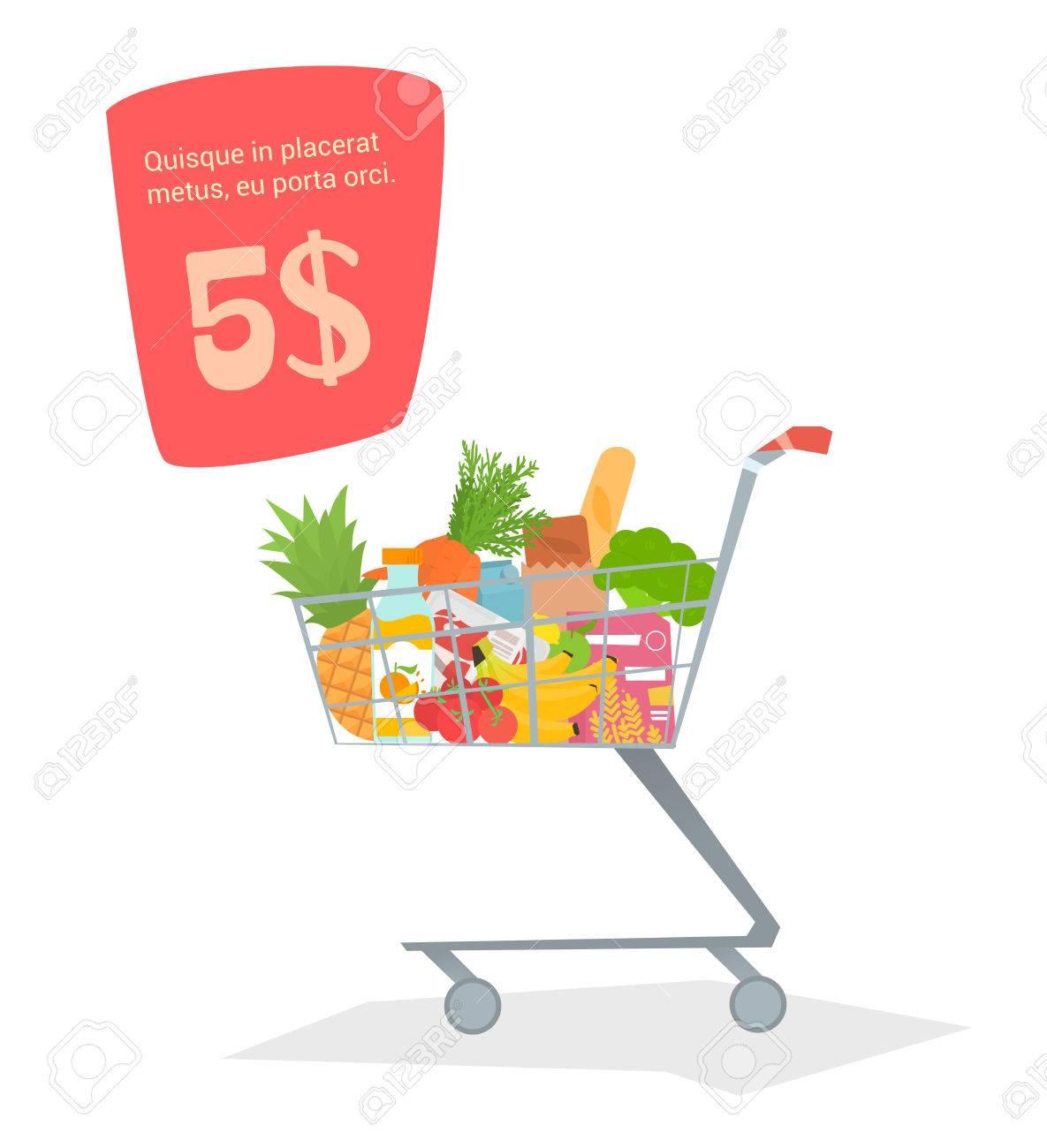 Ein Trolley Mit Essen Im Laden. Produkte Für Lager Einfaches Design ...