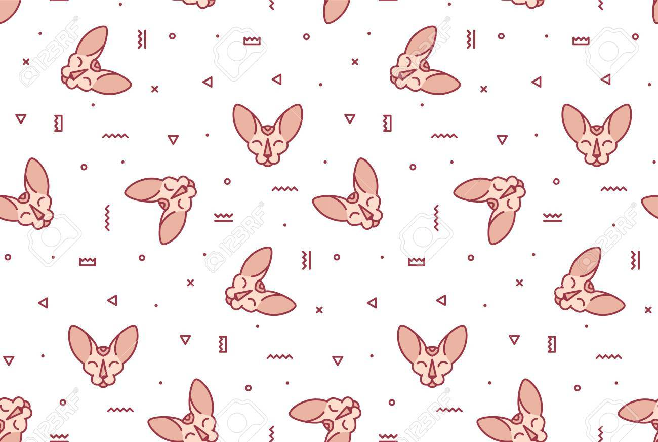 A simple pattern with pink cats and geometric shapes  Seamless
