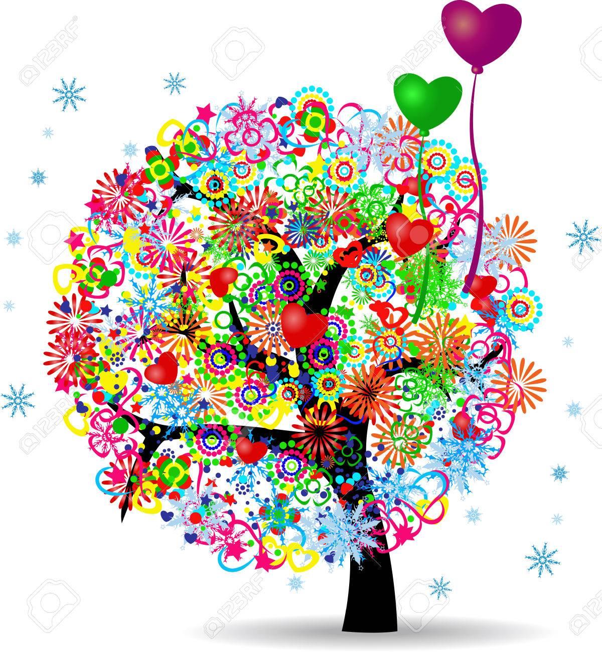 El árbol De La Vida Con Los Globos Ilustraciones Vectoriales Clip